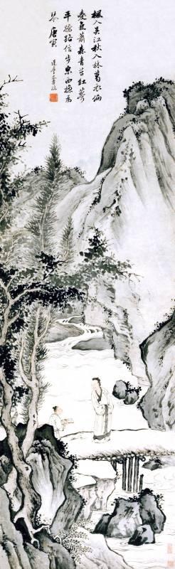 潘恭壽 平橋携琴圖