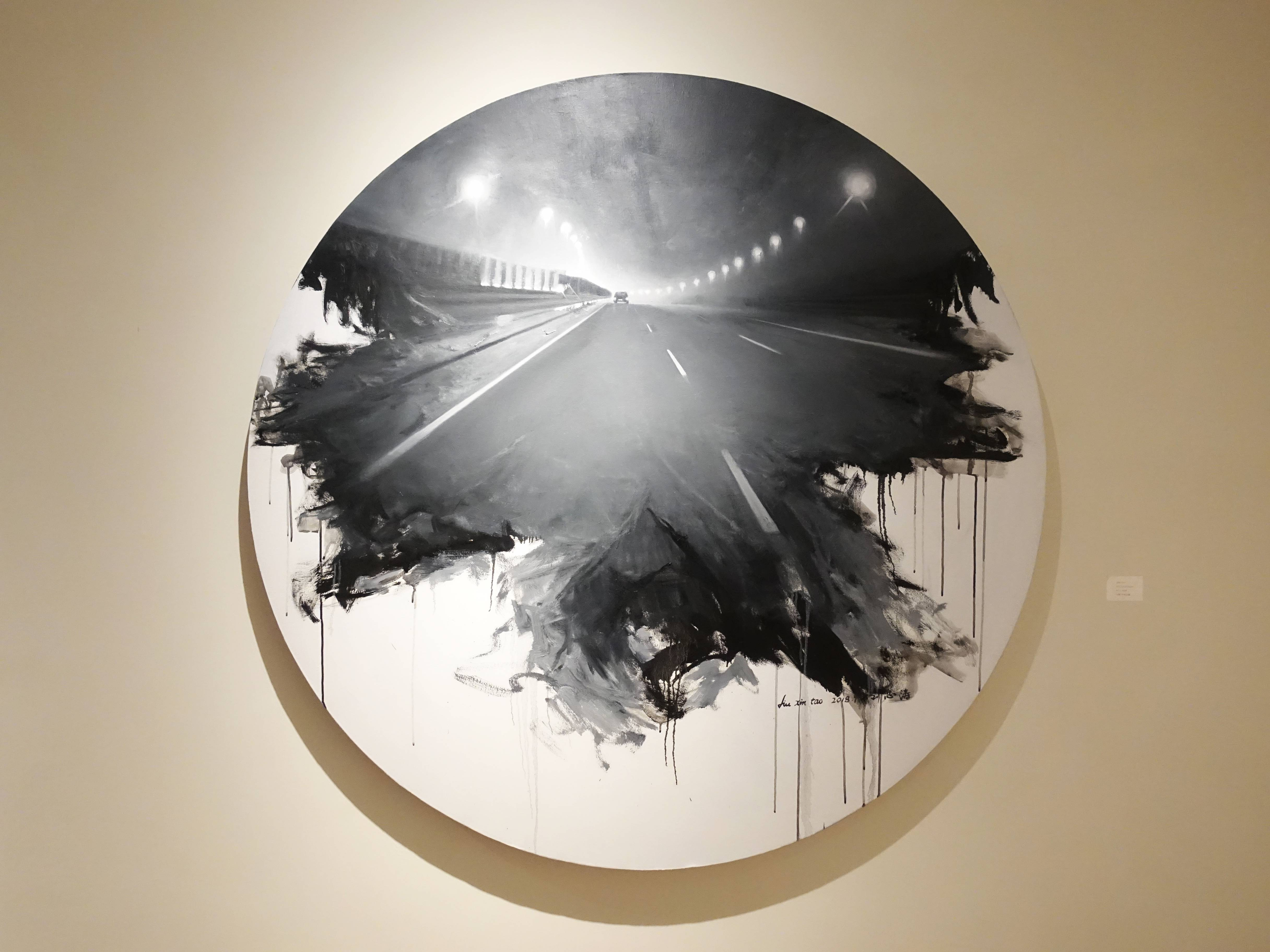 劉芯濤,《夜行》,150 x 150 cm,布面油畫,2018。
