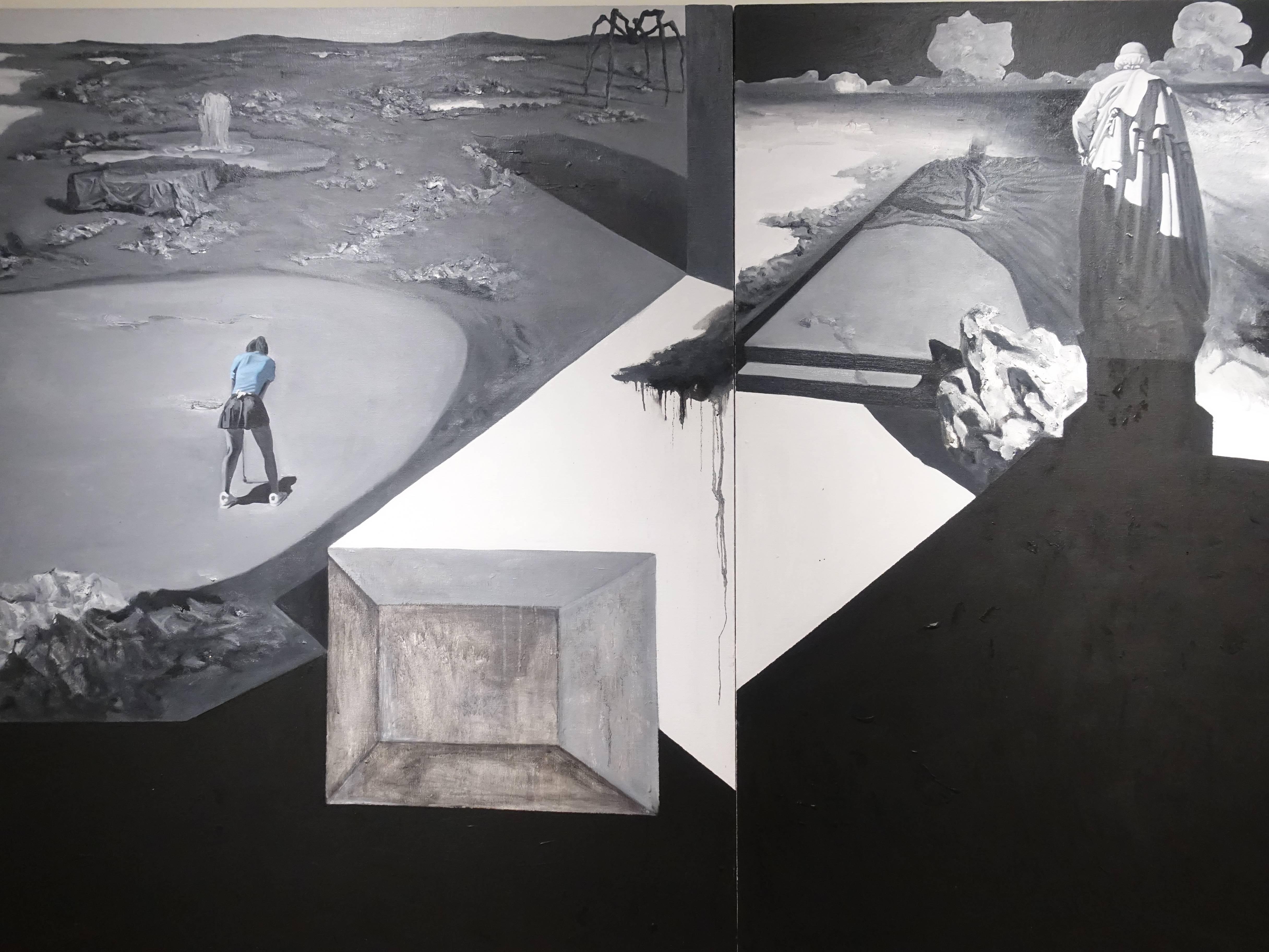 劉芯濤,《無邊的風景2018-2》細節,150 x 360 cm,布面油畫,2018。