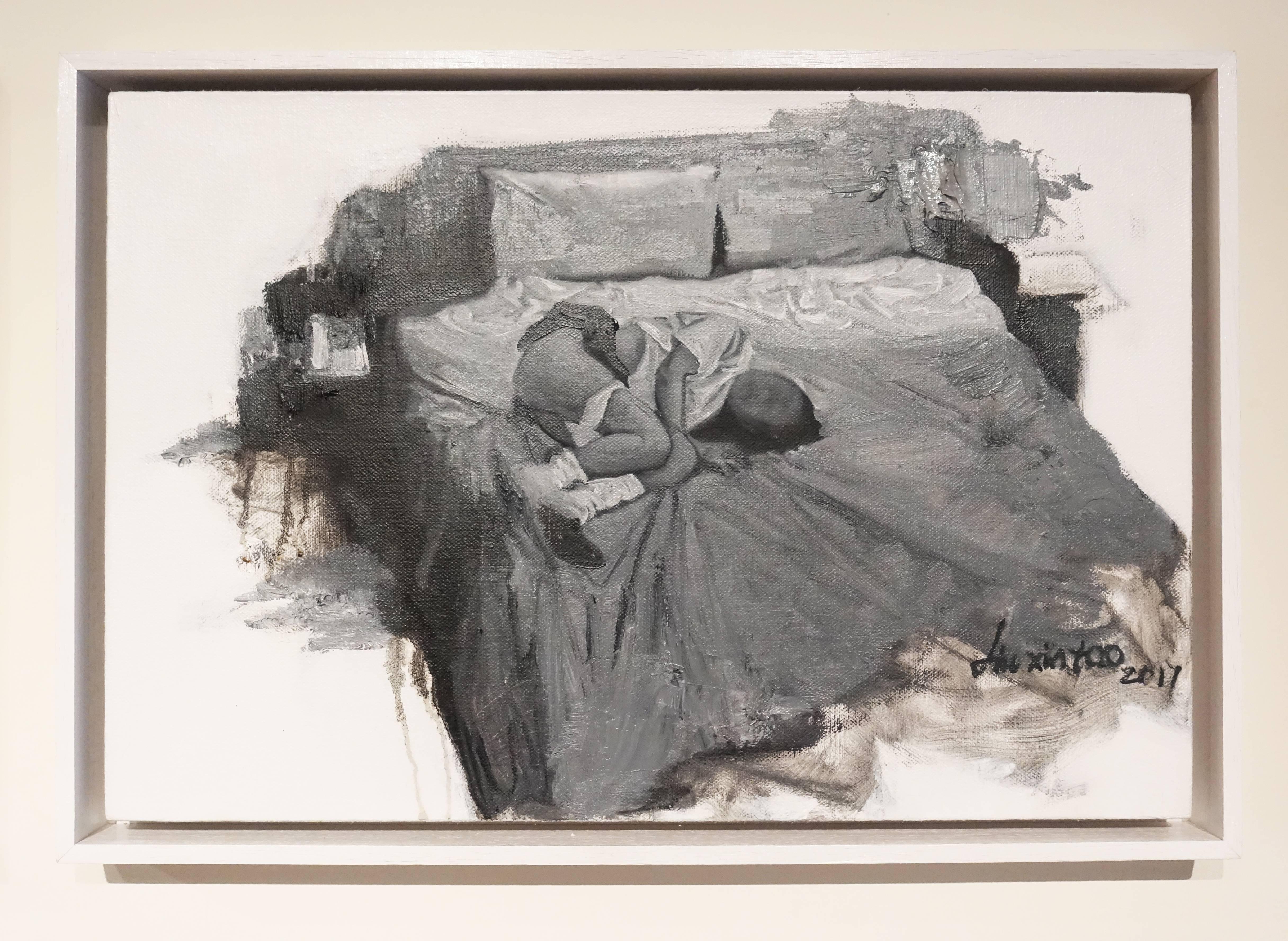 劉芯濤,《床》之三, 40 x 60 cm,布面油畫,2017。