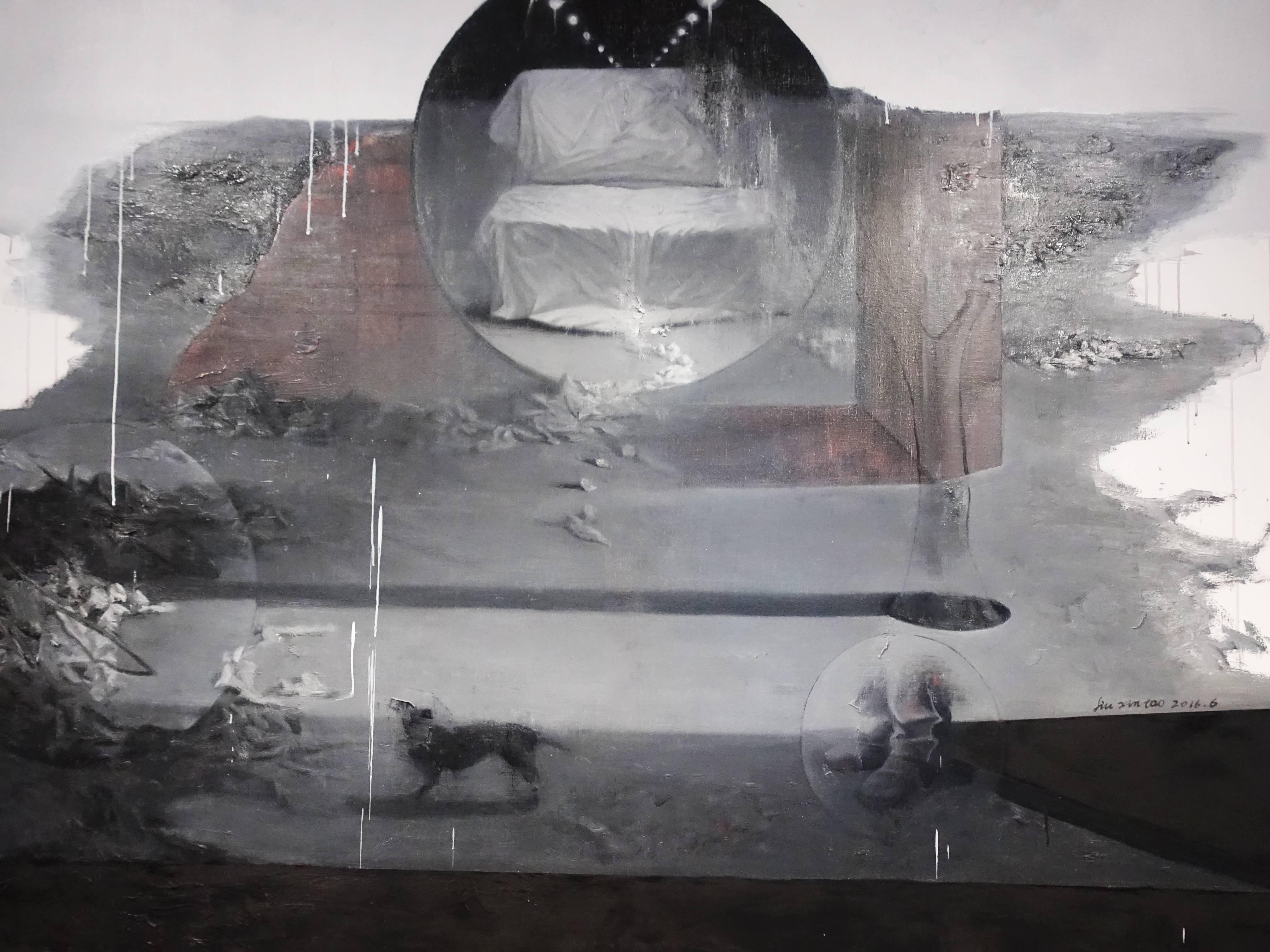 劉芯濤,《無邊的風景之四》細節, 150 x 200 cm,布面油畫,2016。