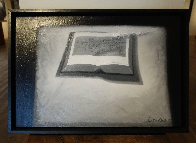 劉芯濤,《書》,40 x 60 cm,布面油畫,2017。