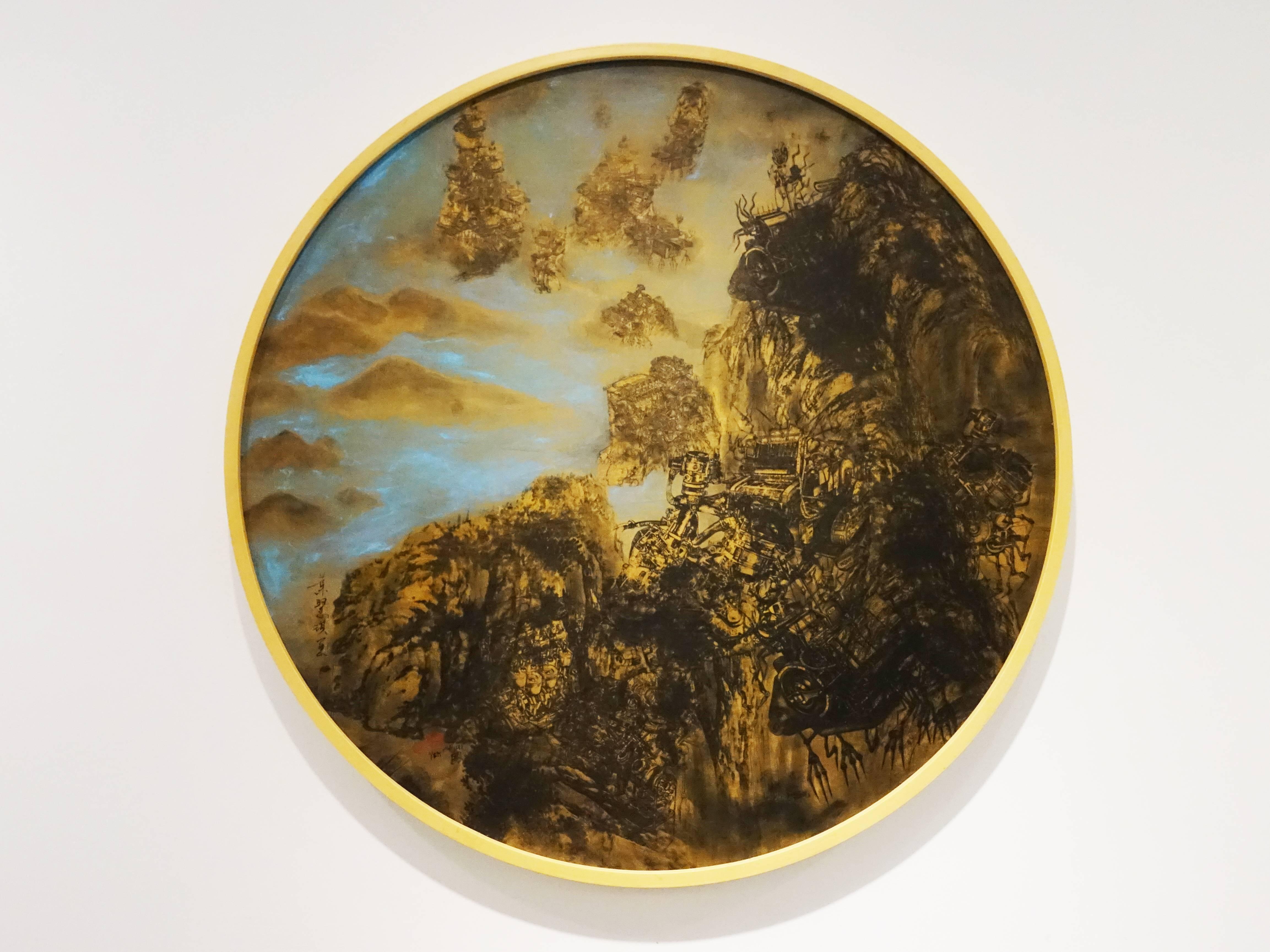 葉慧琪,《境外擬藏》,70 x 70cm,綜合媒材、絹布。