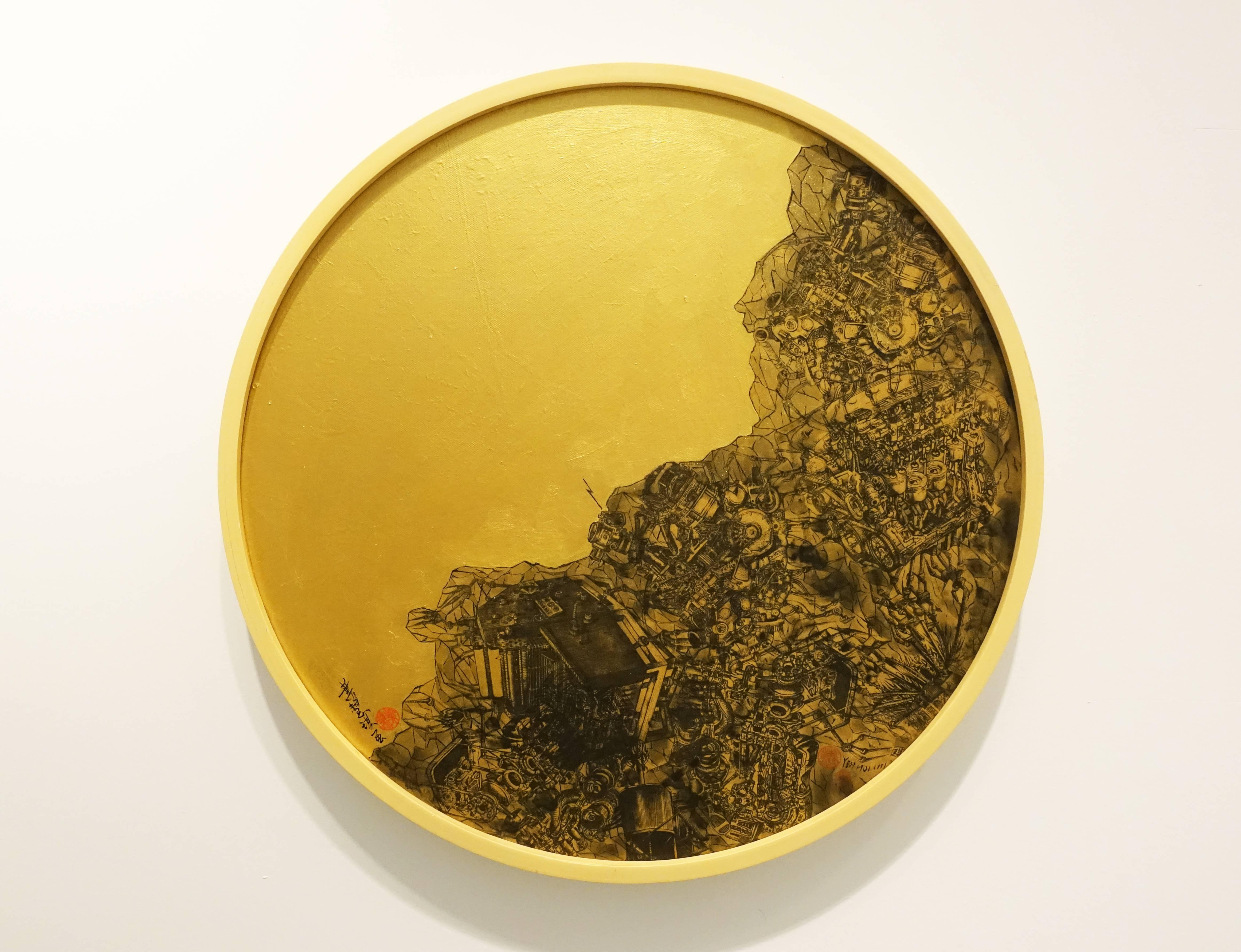 葉慧琪,《列巖》,50 x 50 cm,綜合媒材、絹布。