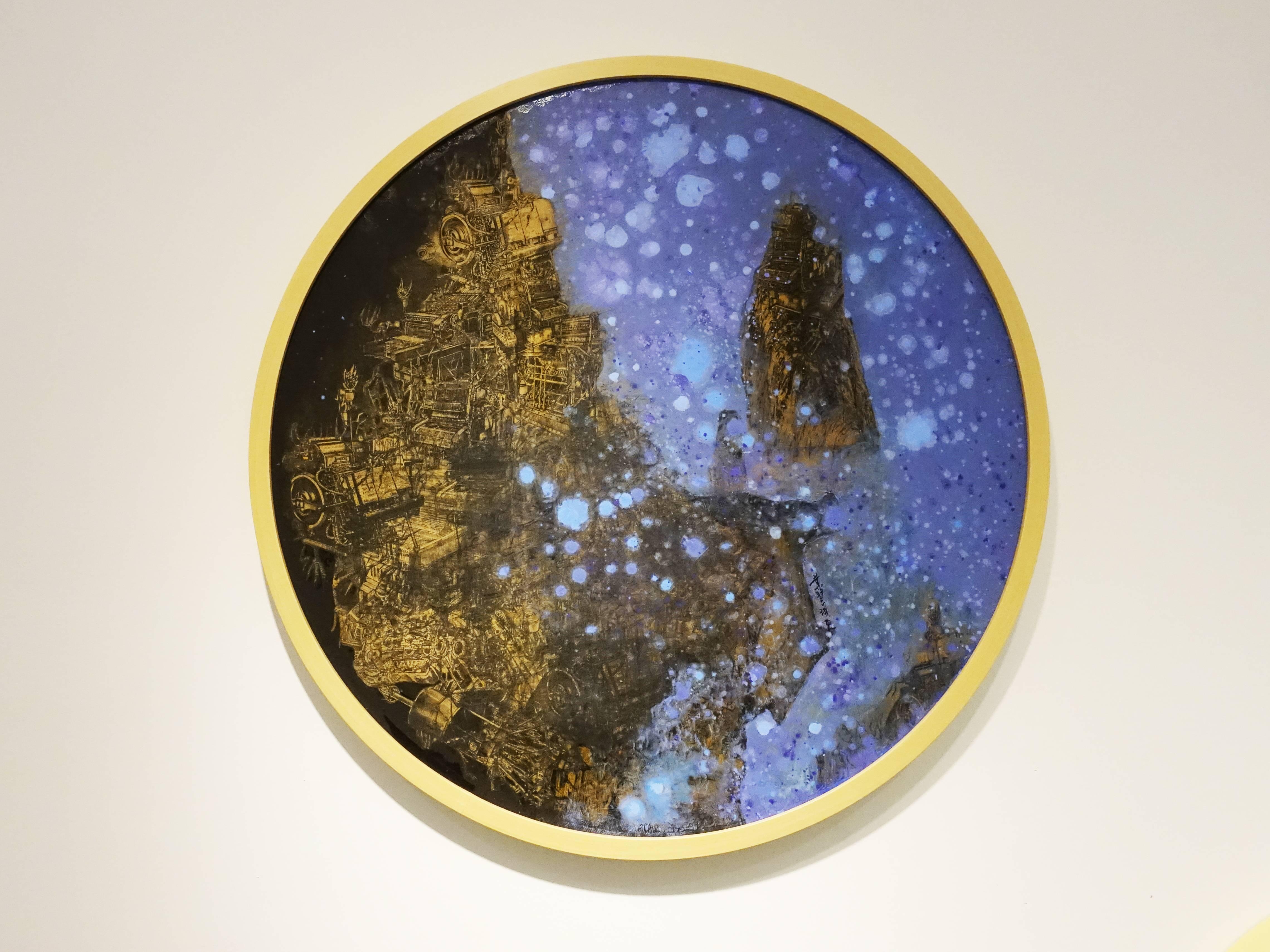 葉慧琪,《星夜》,60 x 60 cm,綜合媒材、絹布。