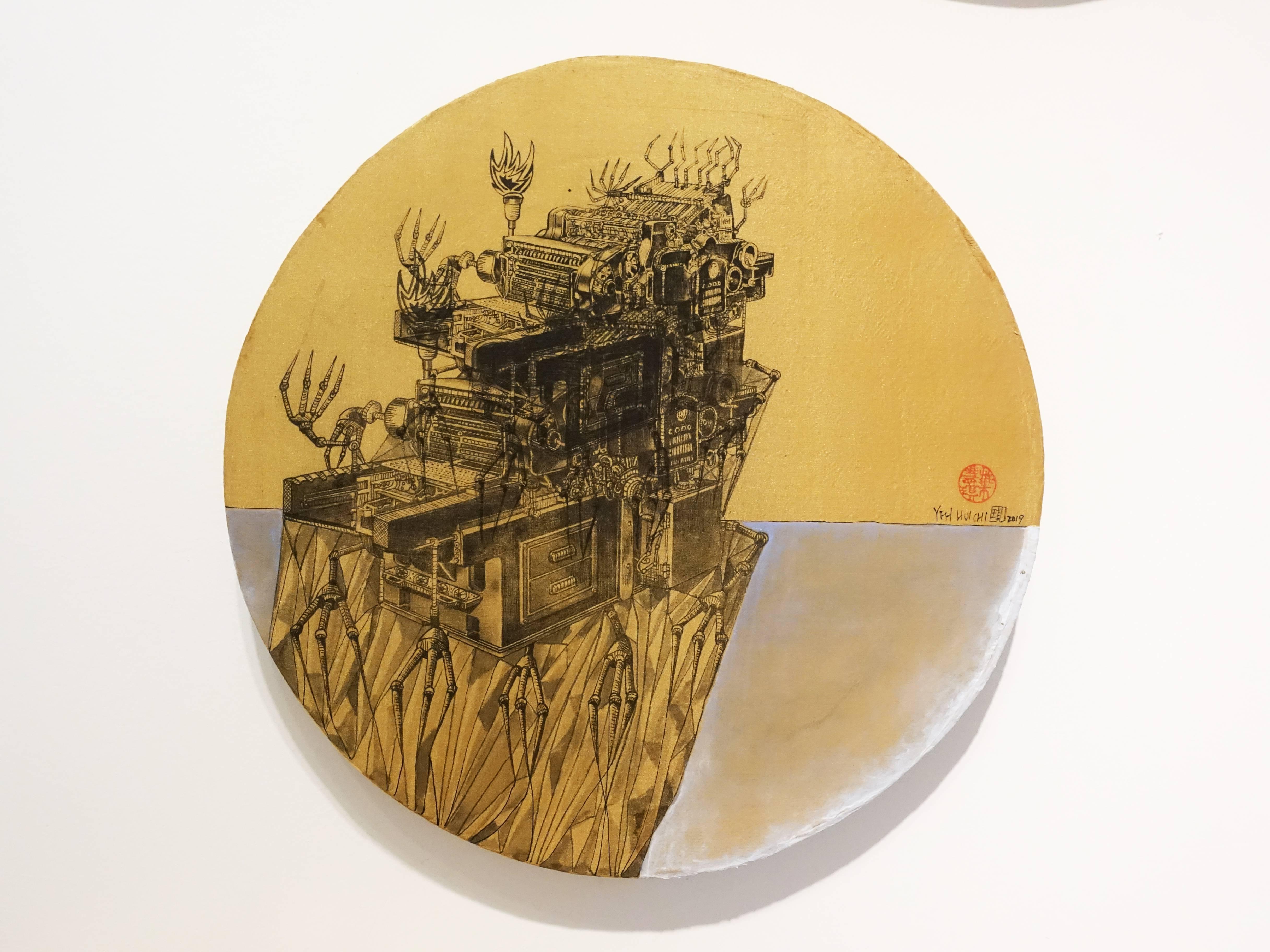 葉慧琪,《機械群45》,30 x 30 cm,綜合媒材、絹布。