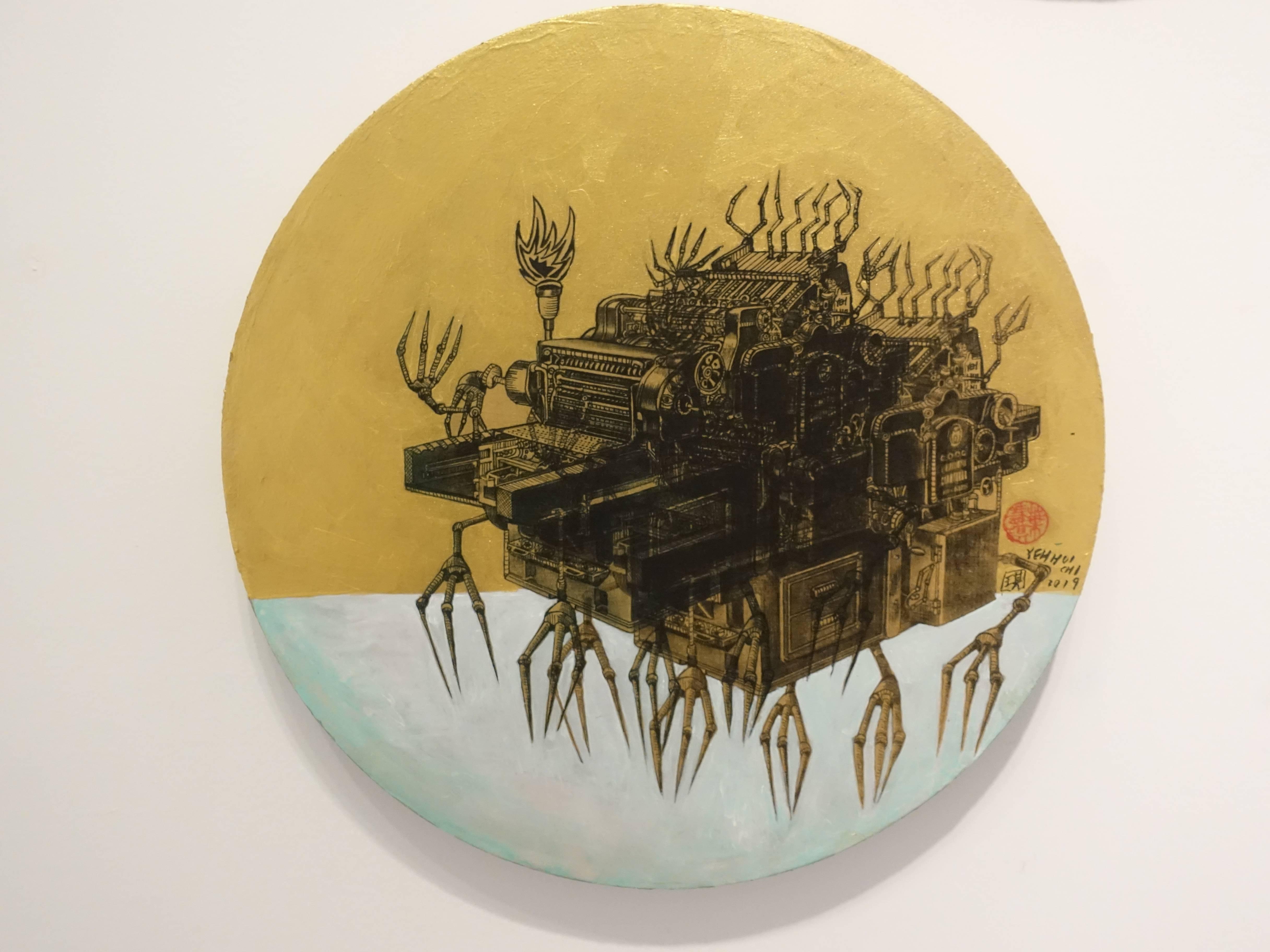 葉慧琪,《機械群50》,30 x 30 cm,綜合媒材、絹布。