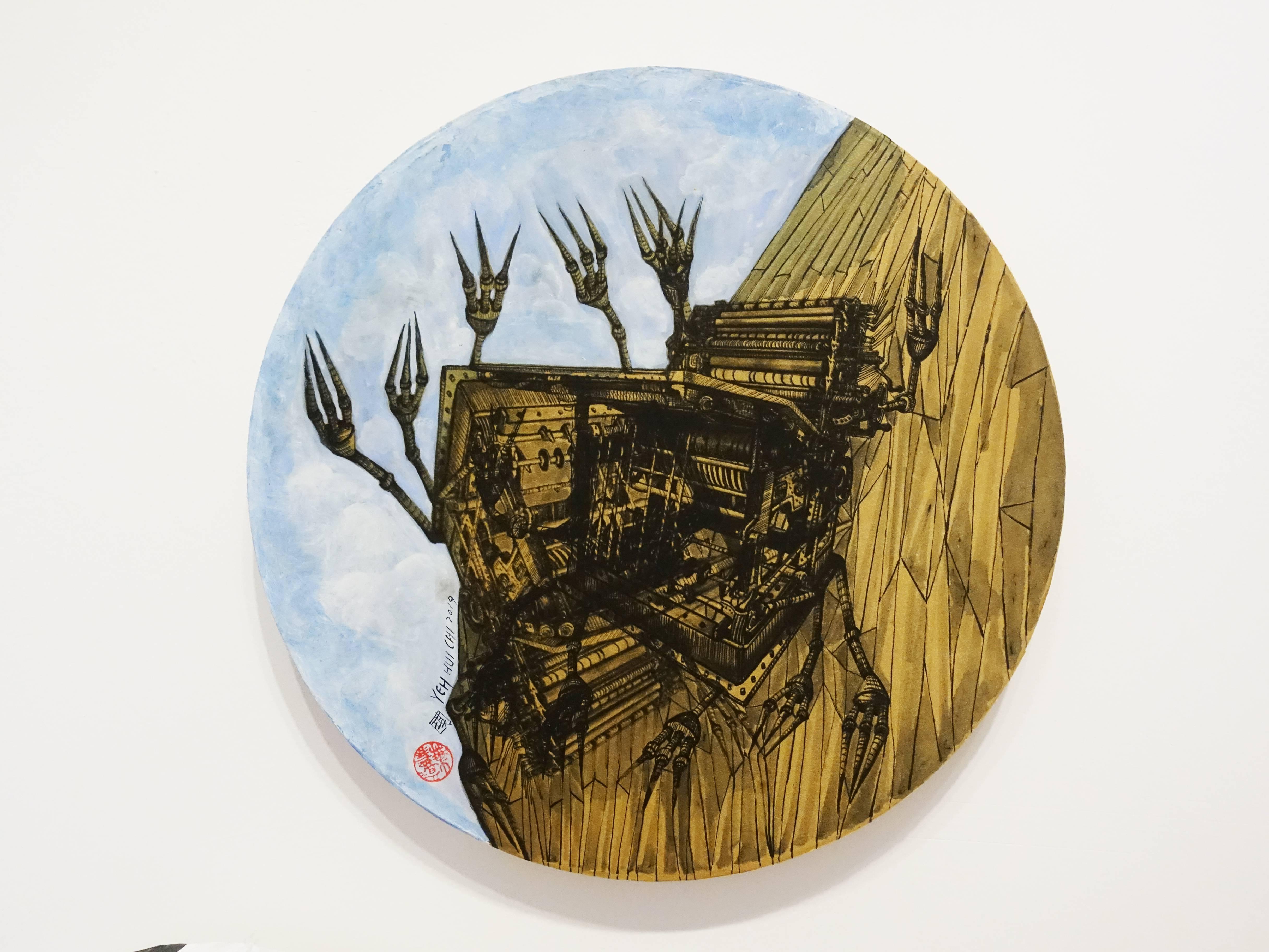 葉慧琪,《機械群48》,30 x 30 cm,綜合媒材、絹布。