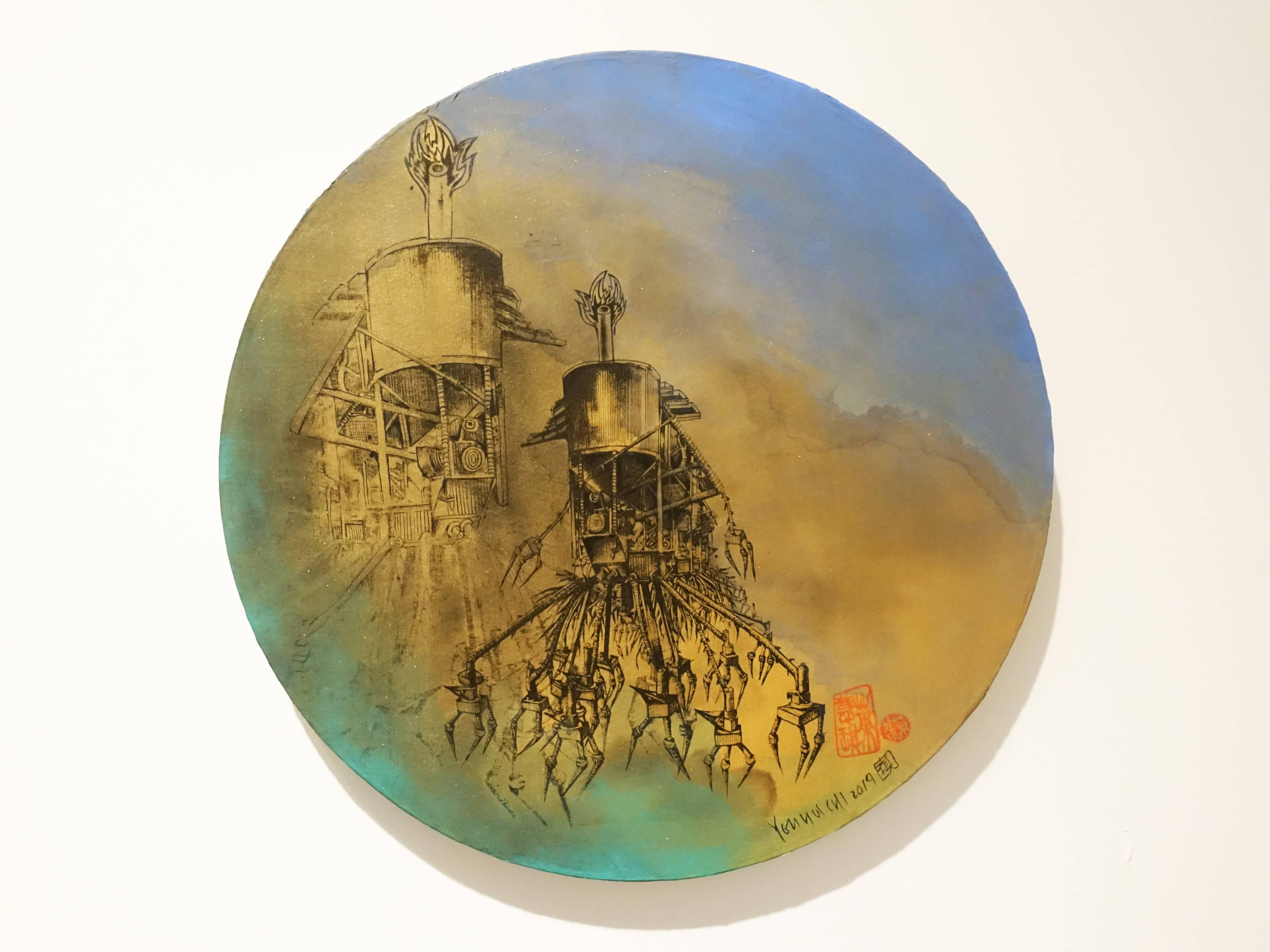 葉慧琪,《機械群46》,30 x 30 cm,綜合媒材、絹布。