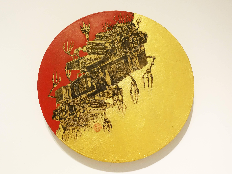 葉慧琪,《機械群47》,30 x 30 cm,綜合媒材、絹布。