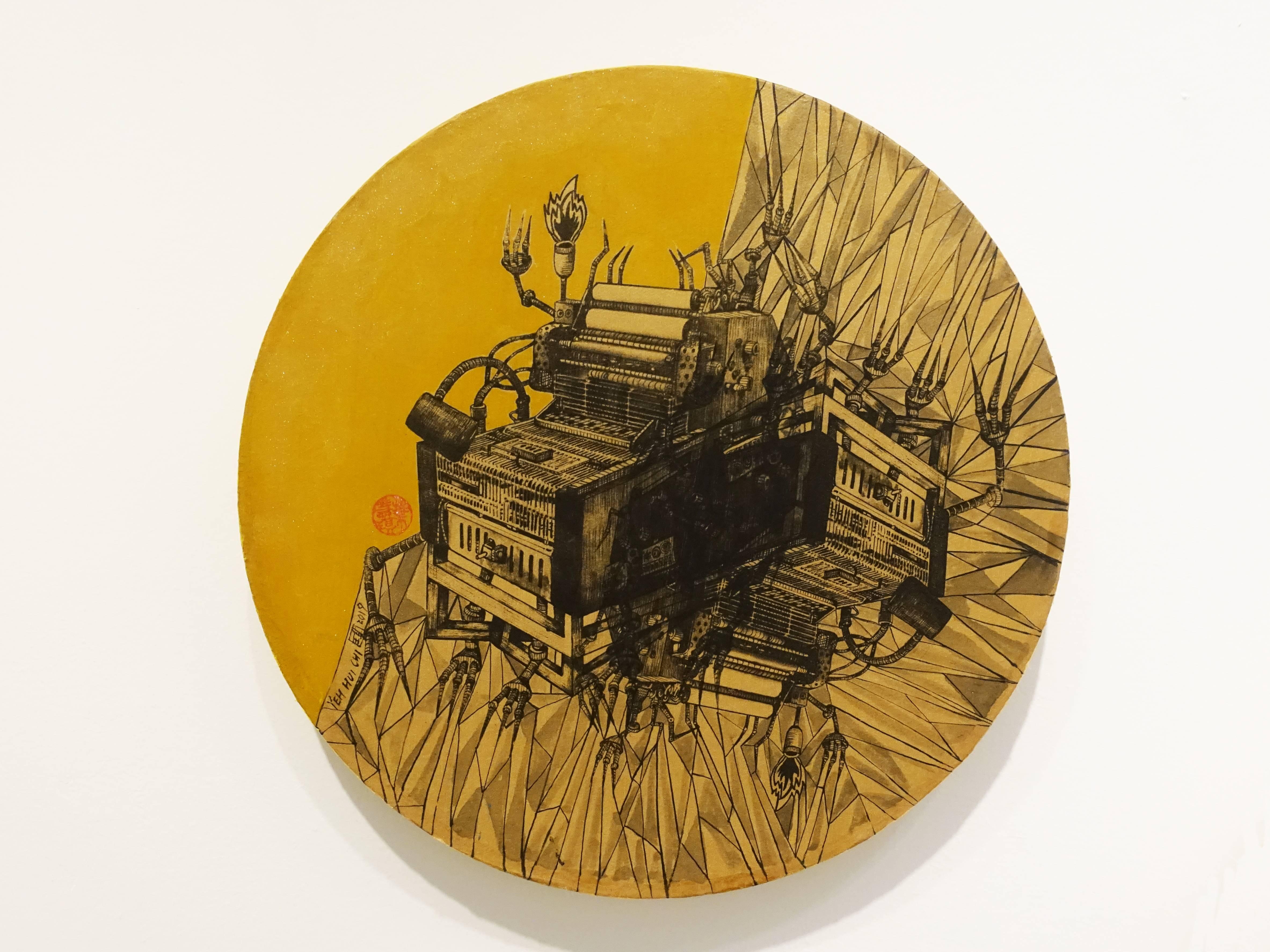 葉慧琪,《機械群42》,30 x 30 cm,綜合媒材、絹布。