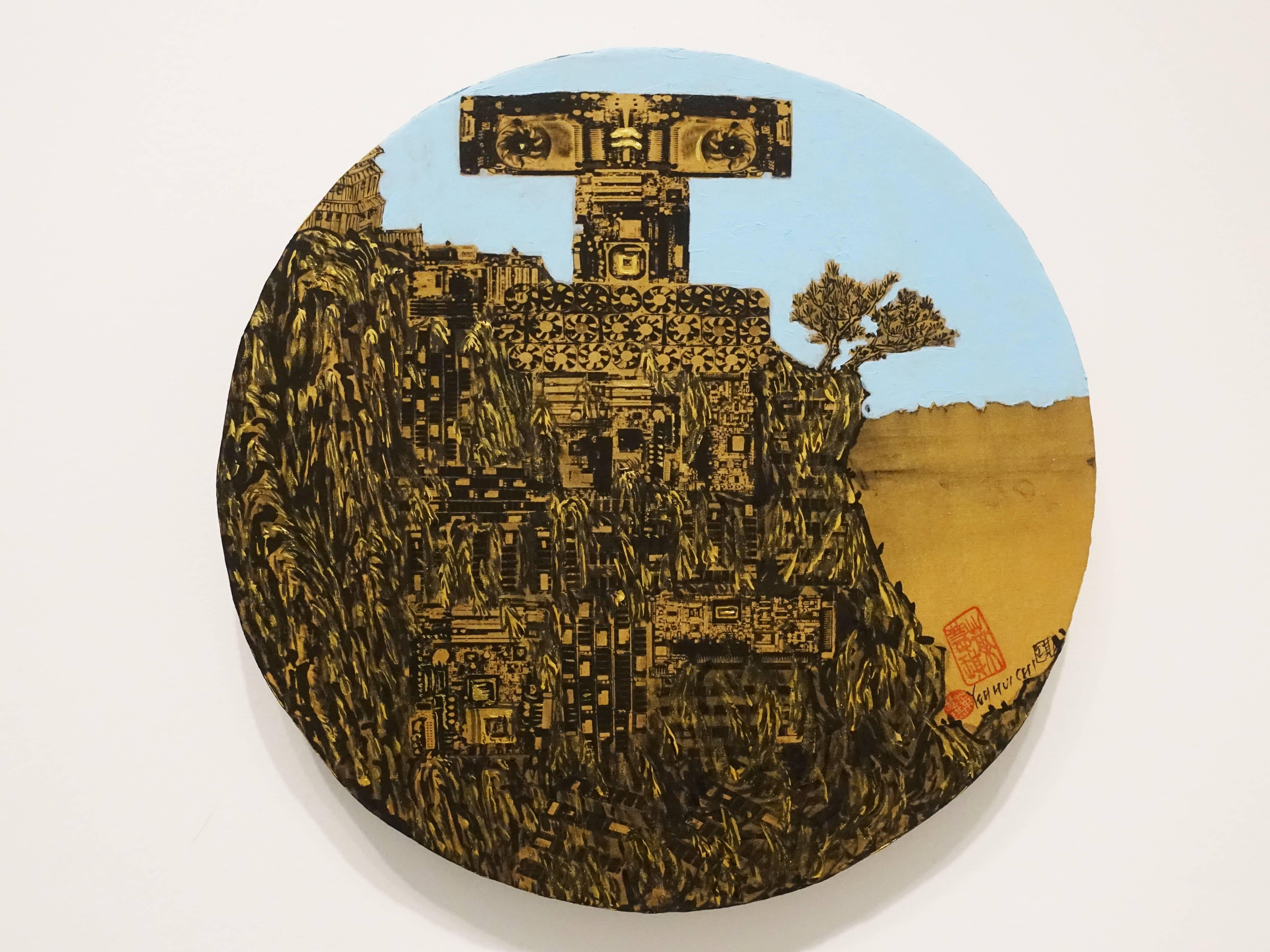 葉慧琪,《機械群26》,30 x 30 cm,綜合媒材、絹布。