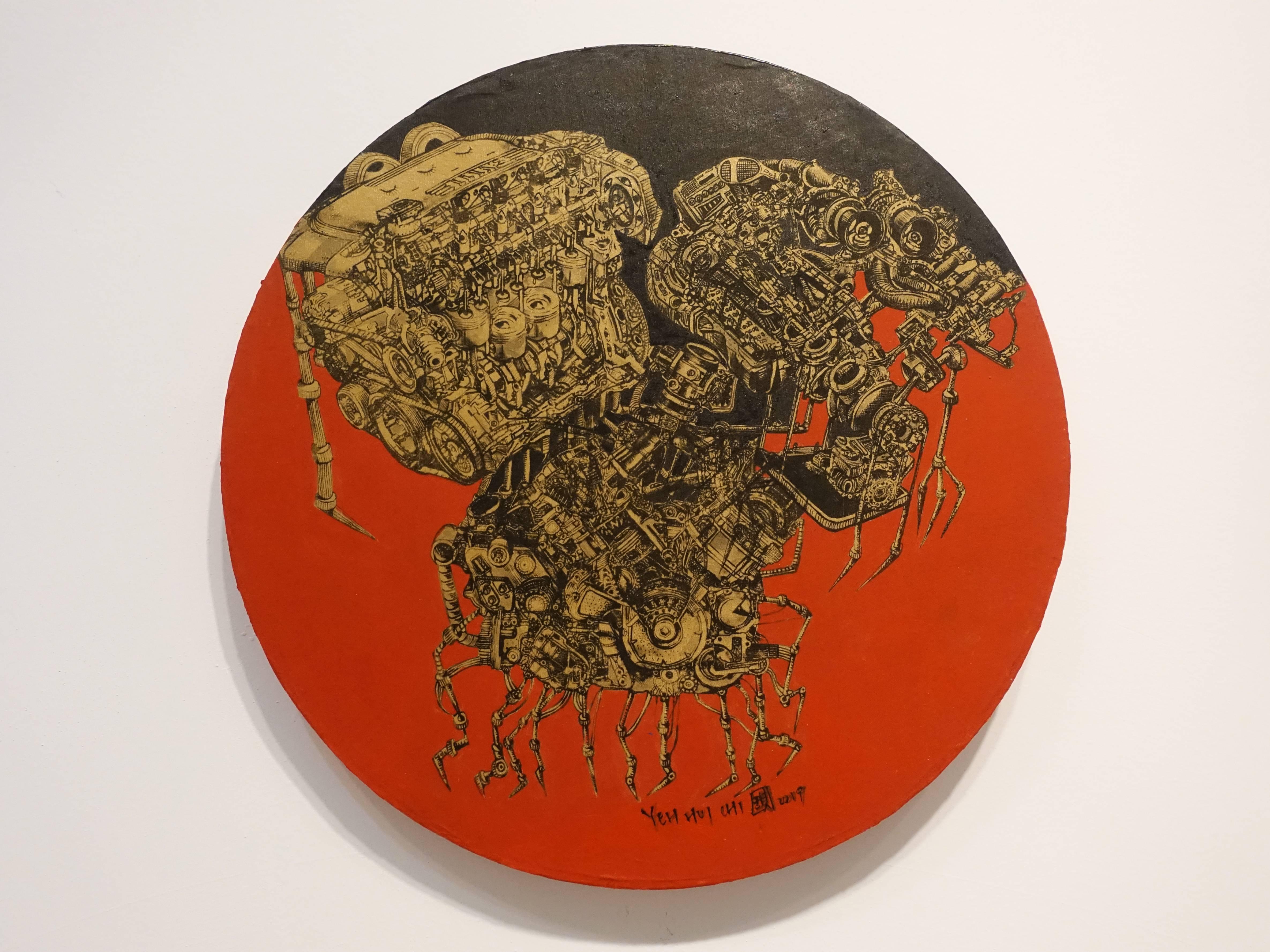 葉慧琪,《機械群28》,30 x 30 cm,綜合媒材、絹布。