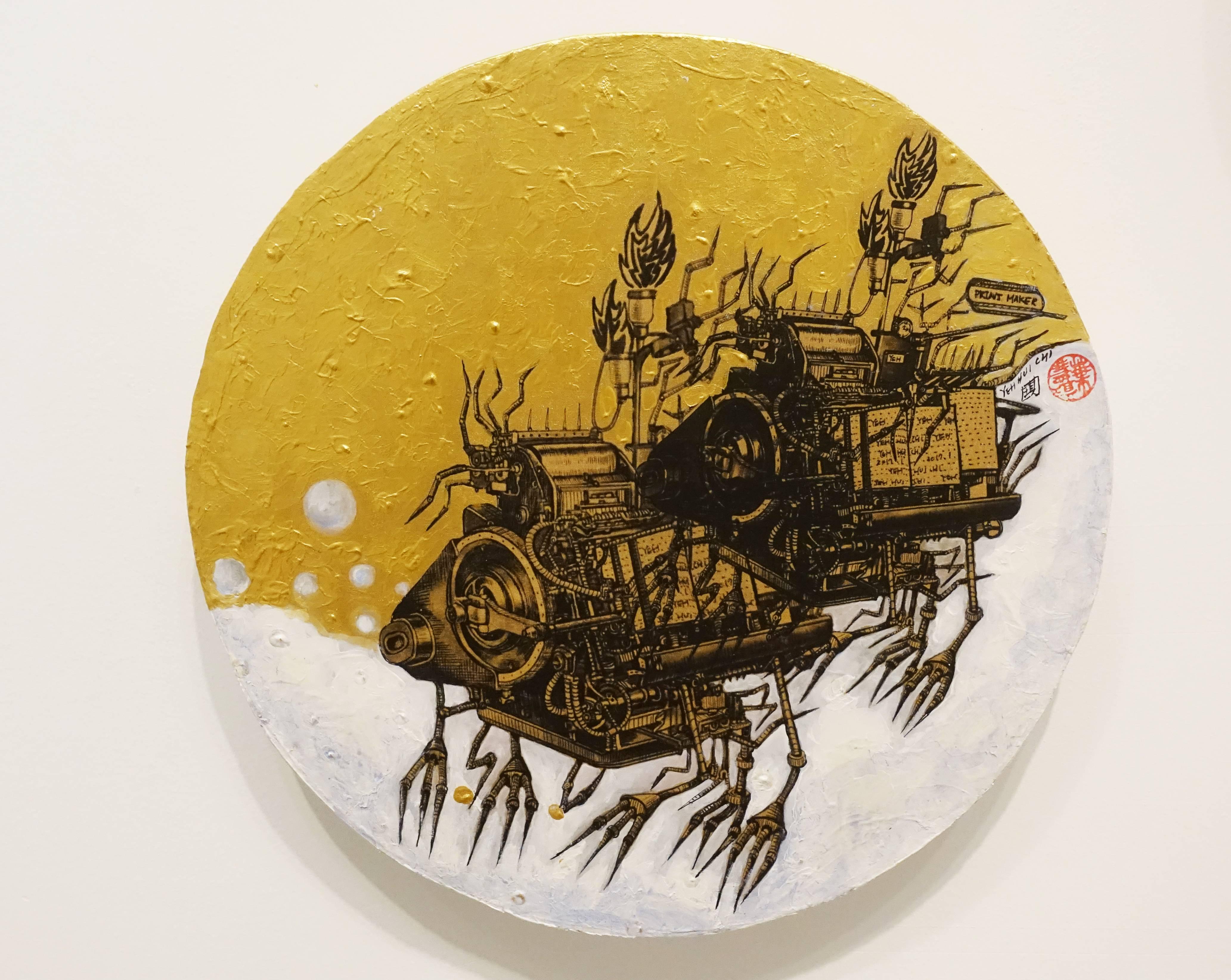 葉慧琪,《機械群34》,30 x 30 cm,綜合媒材、絹布。