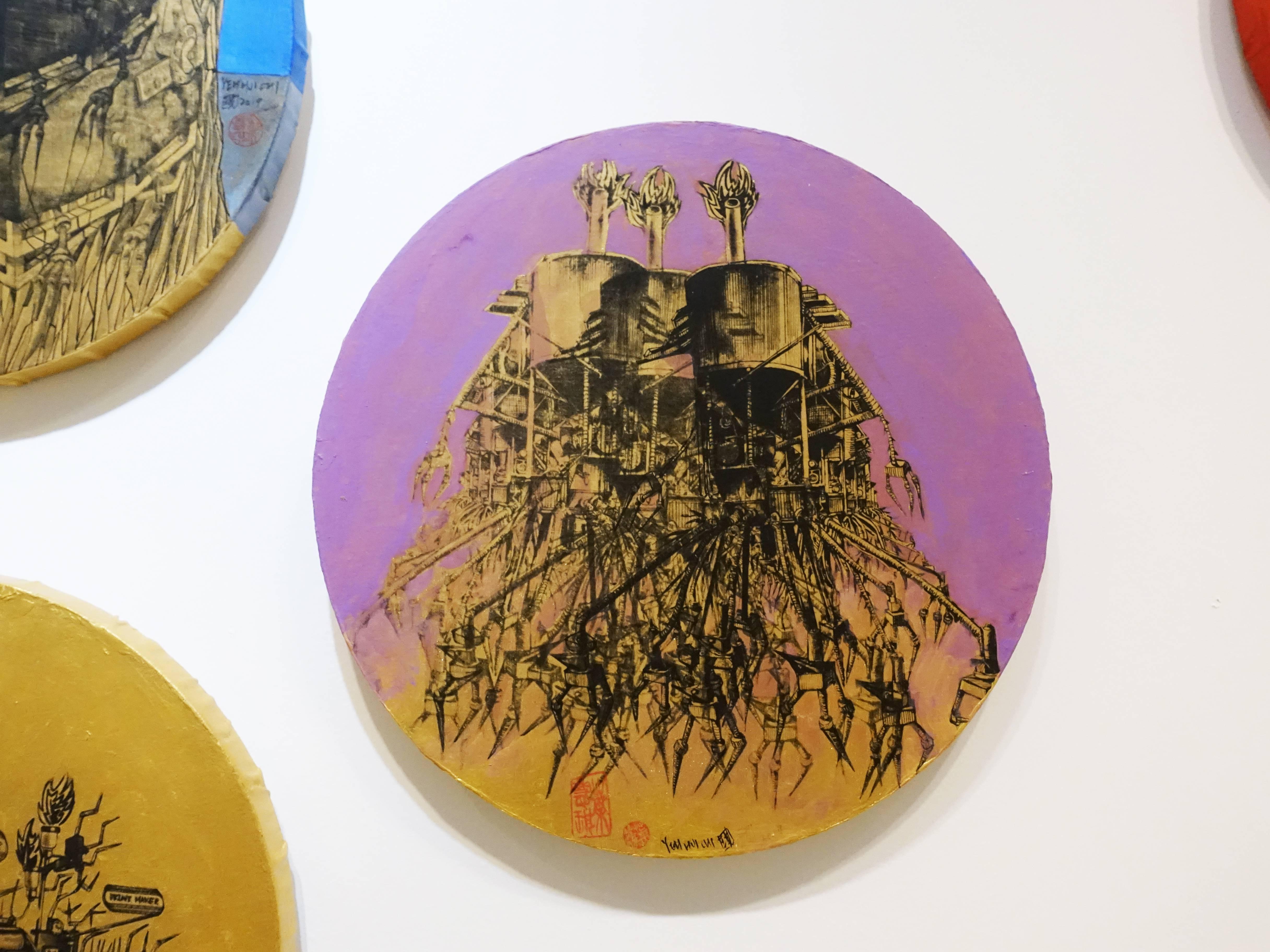 葉慧琪,《機械群30》,30 x 30 cm,綜合媒材、絹布。