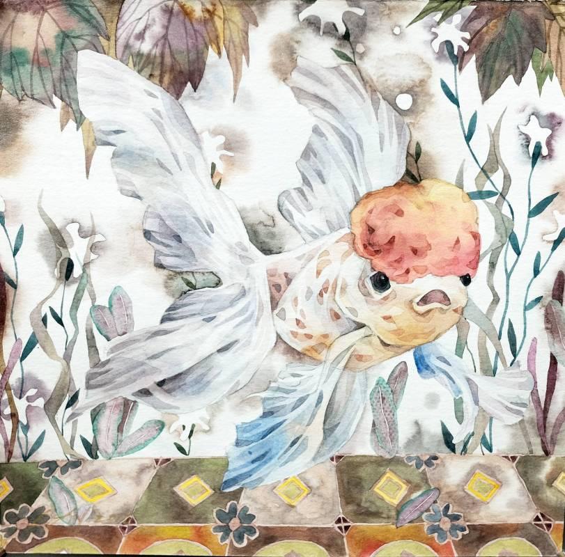詹晴棻《花磚》系列作品 蜉游 20x20