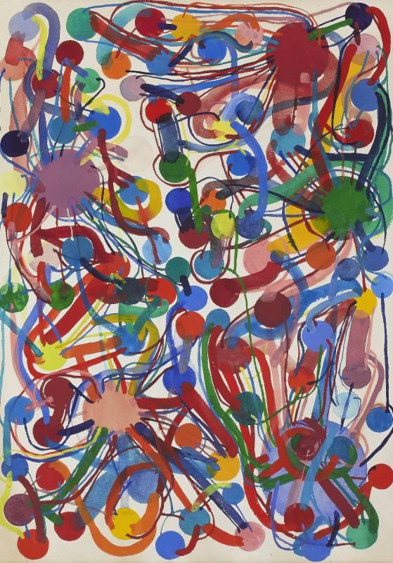 田中敦子 Atsuko Tanaka_作品 Work_1976_粉彩紙本 Gouache on paper_78.5 x 55.3 cm