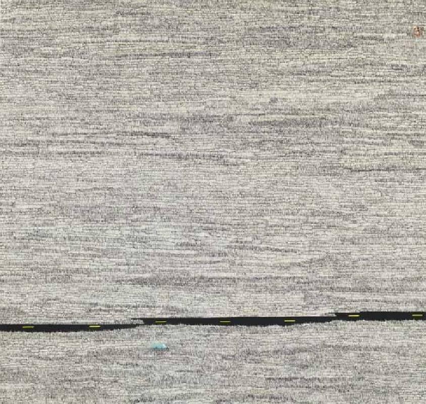 標題:藍色小貨車尺寸:77*81.1 cm 年代:2018    材質:紙本水墨設色