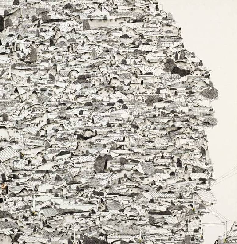 標題:寂寞城市 2尺寸:65.8*63.1 cm 年代:2017    材質:紙本水墨設色