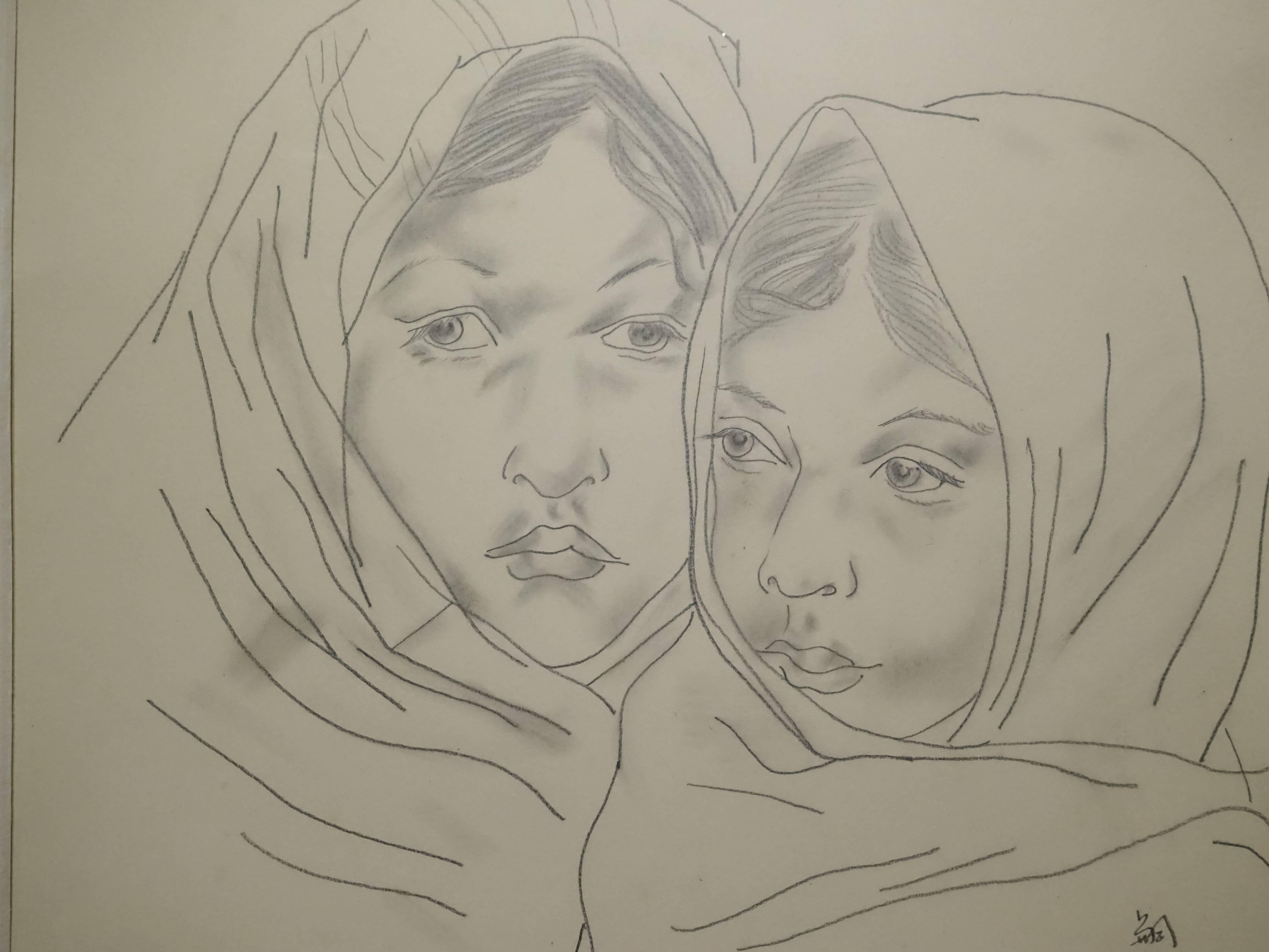 藤田嗣治,《母與子》,41x33 cm,紙上素描,1931。