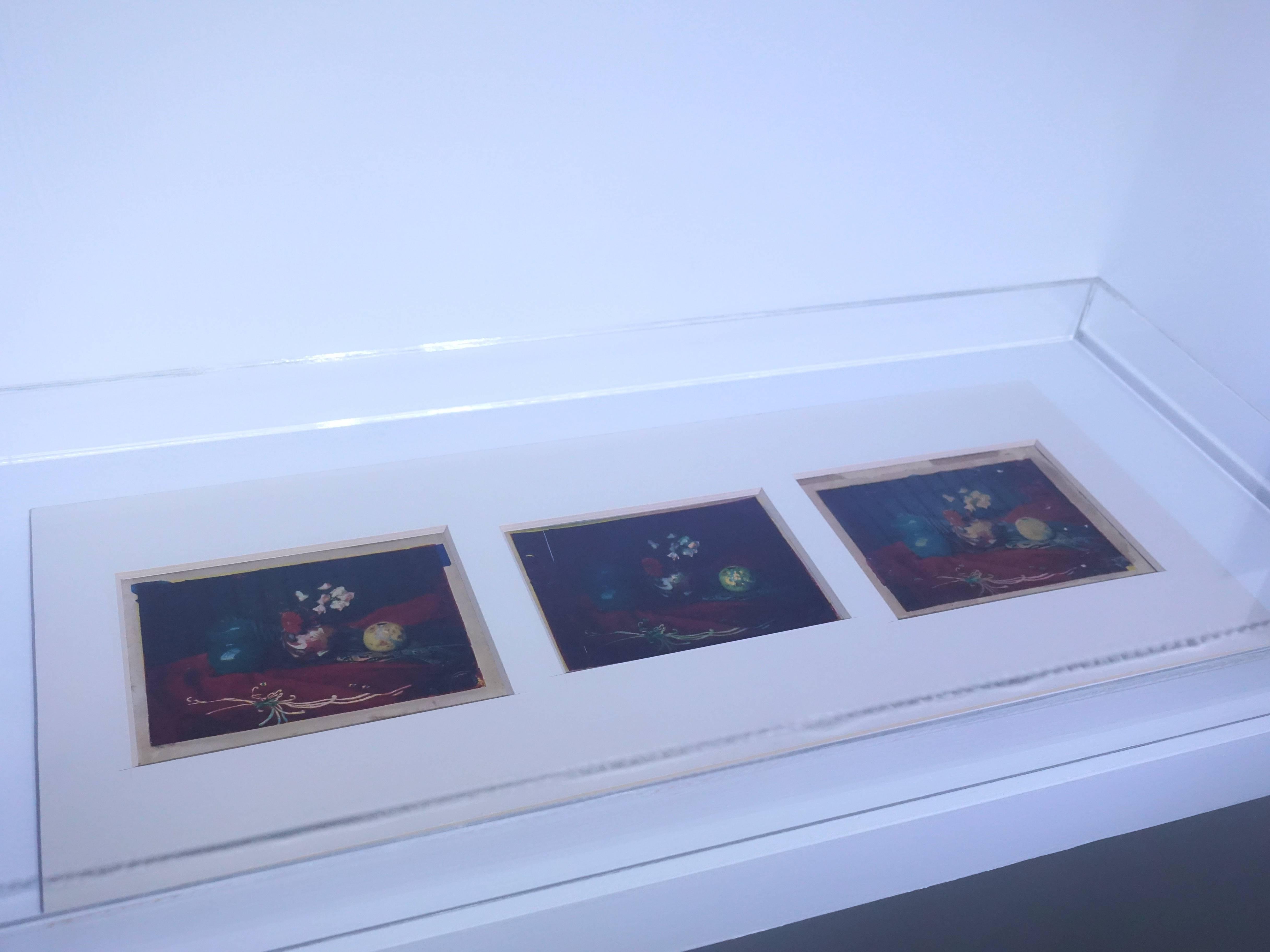 彭瑞麟,《靜物》,11x15 cm x 3,三色轉染法製作的彩色寫真,1938。