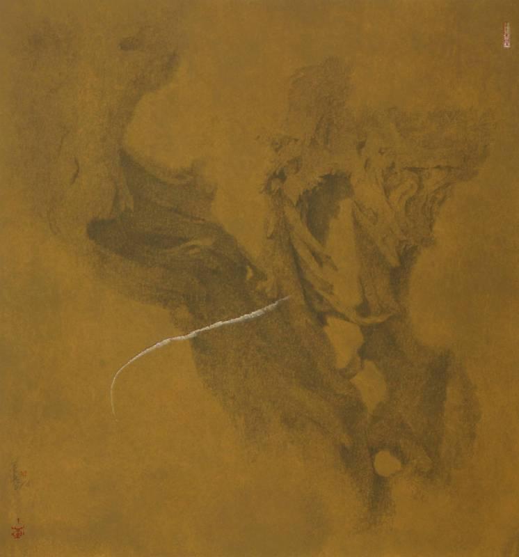 劉金桔 Low kimchit 似遠猶近 Futile壓克力顏料、色粉、墨、宣紙 Acrylic, pigment and Chinese Ink on Rice Paper106.5x100cm2018