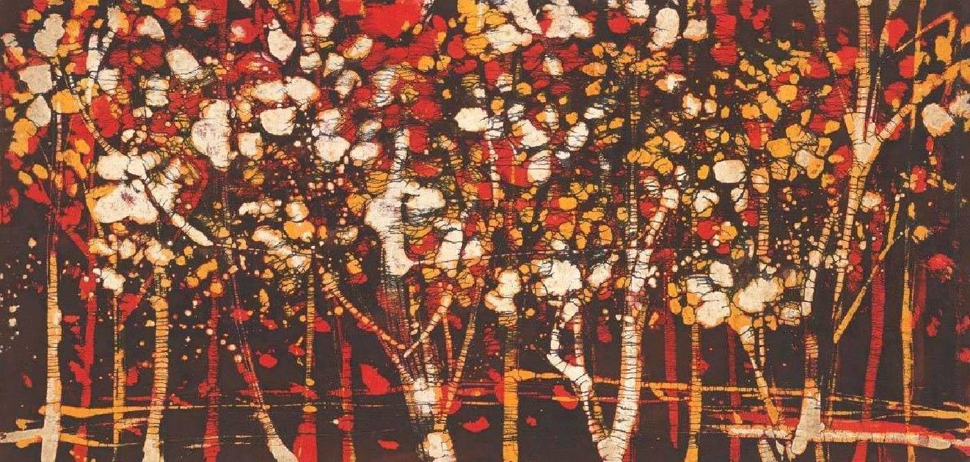 黃歌川 秋意森林138x70cm 冰裂紋蠟染畫1972