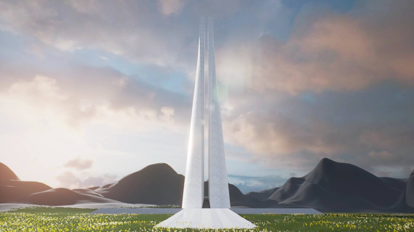 陶亞倫 王大閎登月紀念碑 2018 3D數位影像、VR虛擬實境 視場地調整