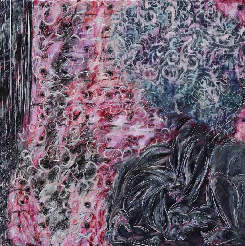 謝鴻均,《複製動態》Duplicated Movement,2019,油彩、畫布 oil on canvas,173X173cm。圖/安卓藝術提供