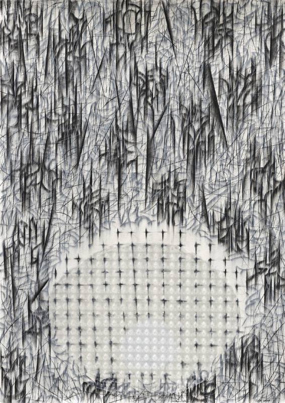 謝鴻均,《子宮》Uterus,2019,複合媒材、紙 Mix media on paper,108x78 cm。圖/安卓藝術提供