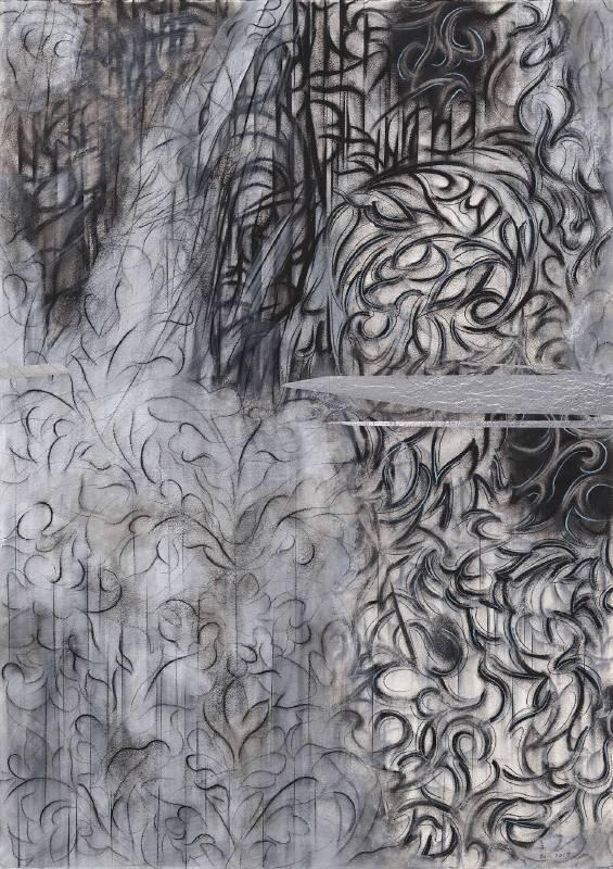 謝鴻均,《美工刀的指揮》 Conductor's Utility knife,2019,複合媒材/紙 Mix media on paper,78x108 cm。圖/安卓藝術提供