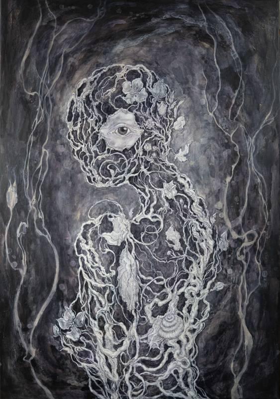 愛之苑(怨) The Garden of Love 100x70cm 壓克力、壓克力墨水、畫布 Acrylic and acrylic ink on canvas 2019