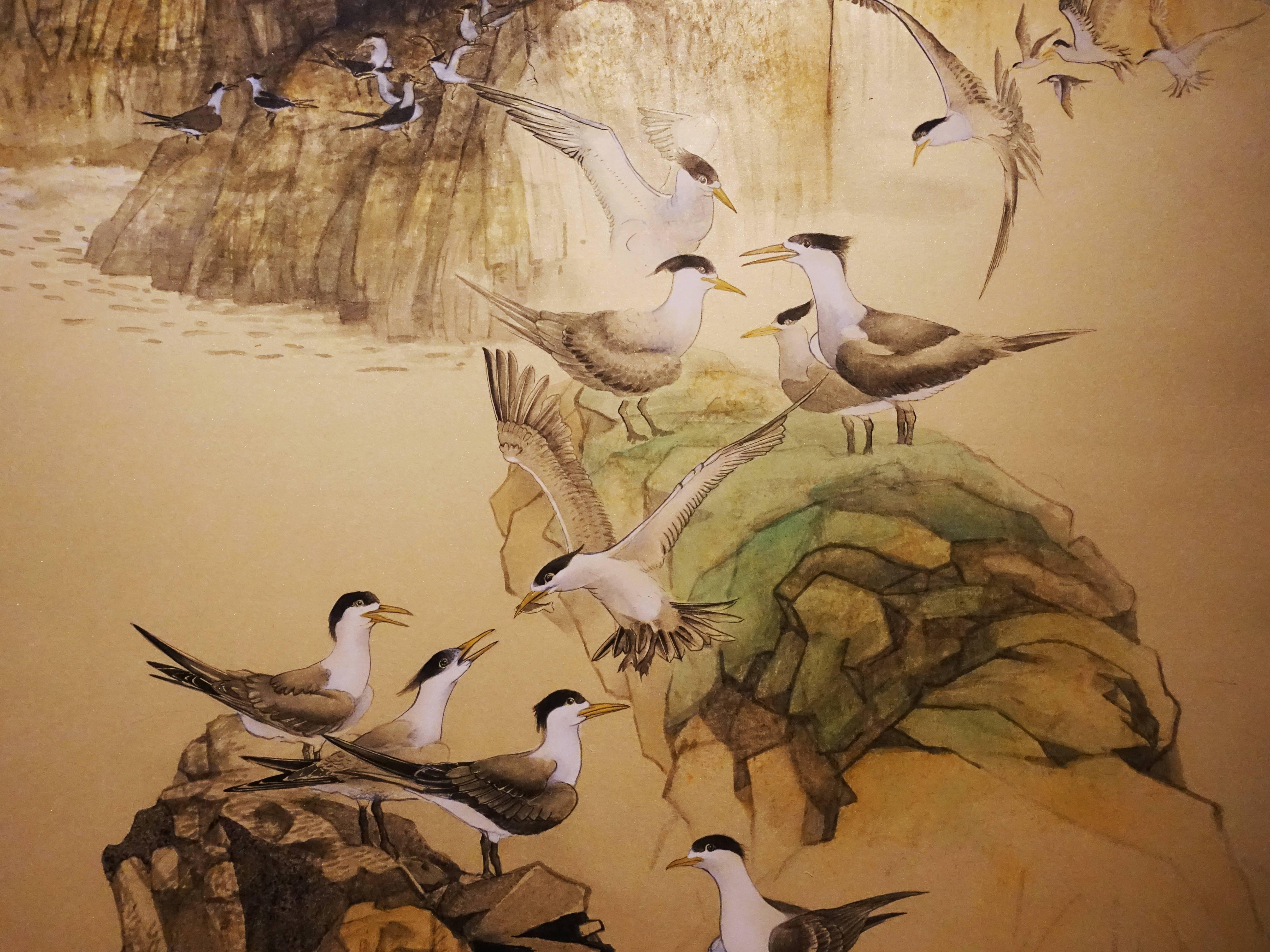 黃淑卿,《群鷗處處來2》細節,223 x 101 cm,紙本、彩墨,2019。
