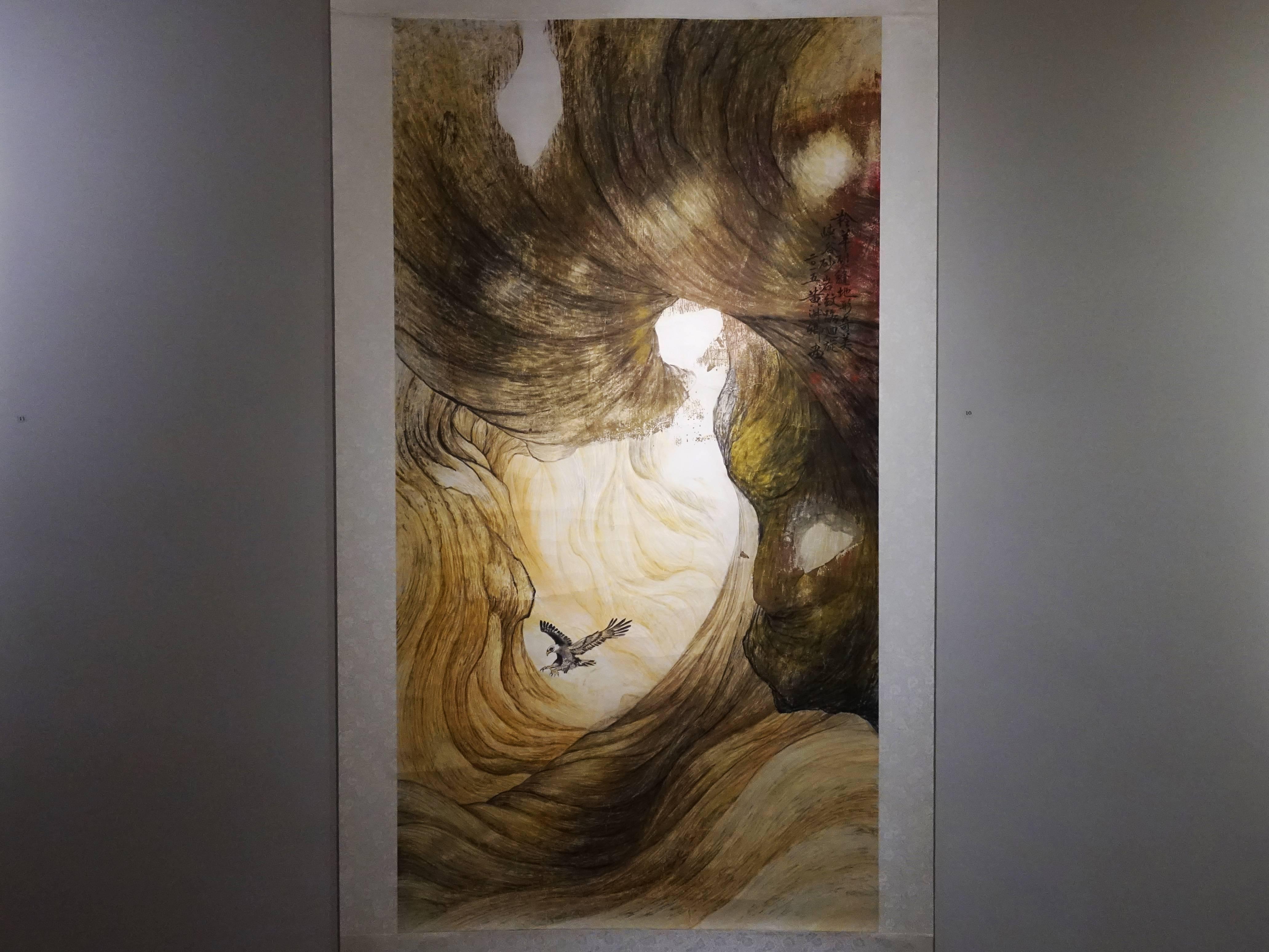 黃淑卿,《峽谷意象(二)》,200 x 77 cm,彩墨、水印木板,2015。