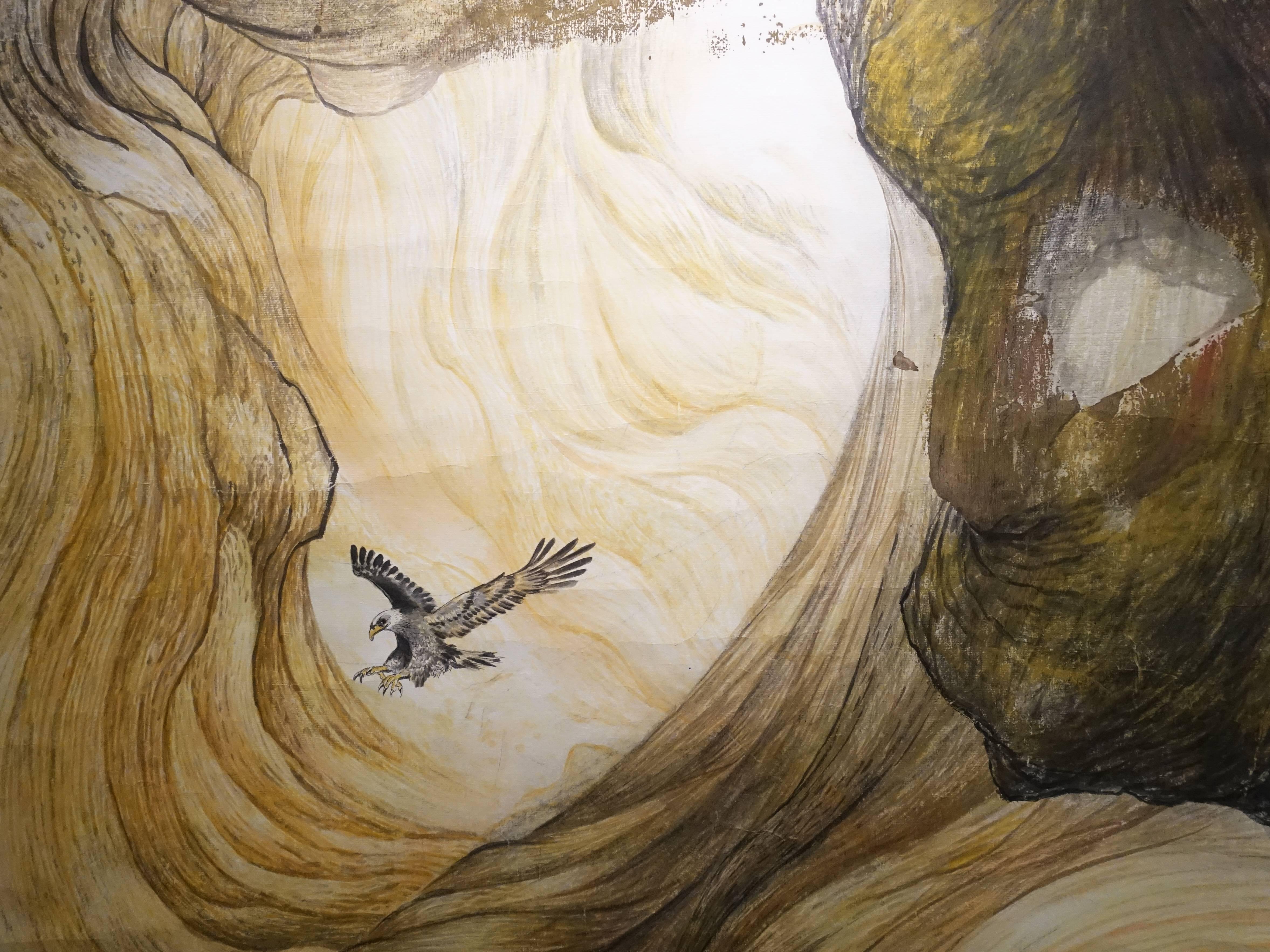 黃淑卿,《峽谷意象(二)》細節,200 x 77 cm,彩墨、水印木板,2015。