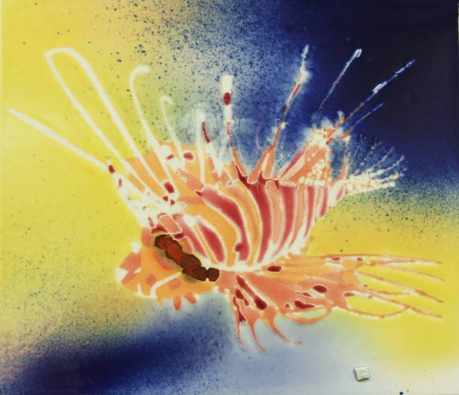 范振金 獅子魚 2018年 37x32cm 陶板釉彩