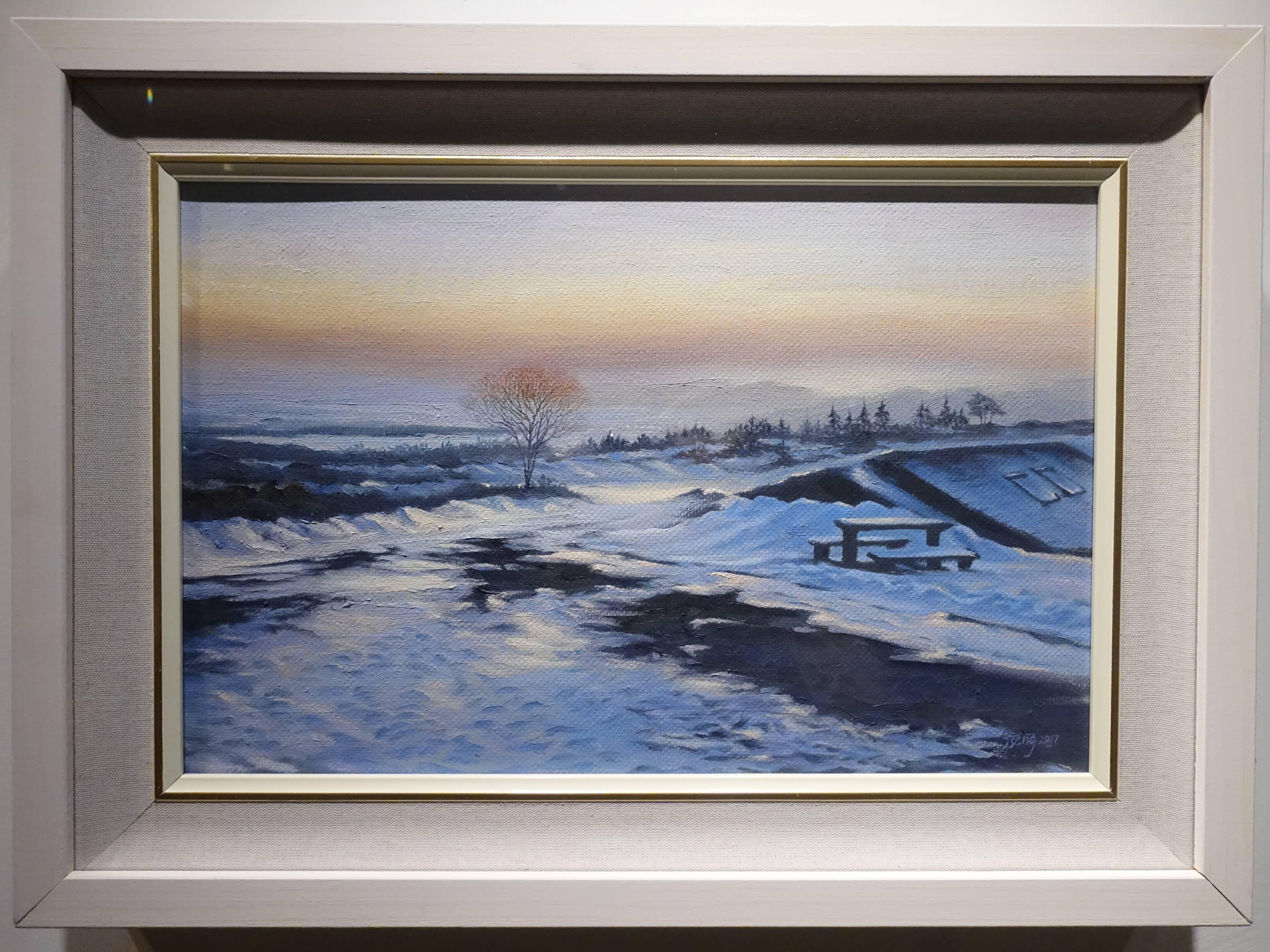 曾雅玲,《無限好~夕陽》,41x27cm,油彩、畫布,2017。