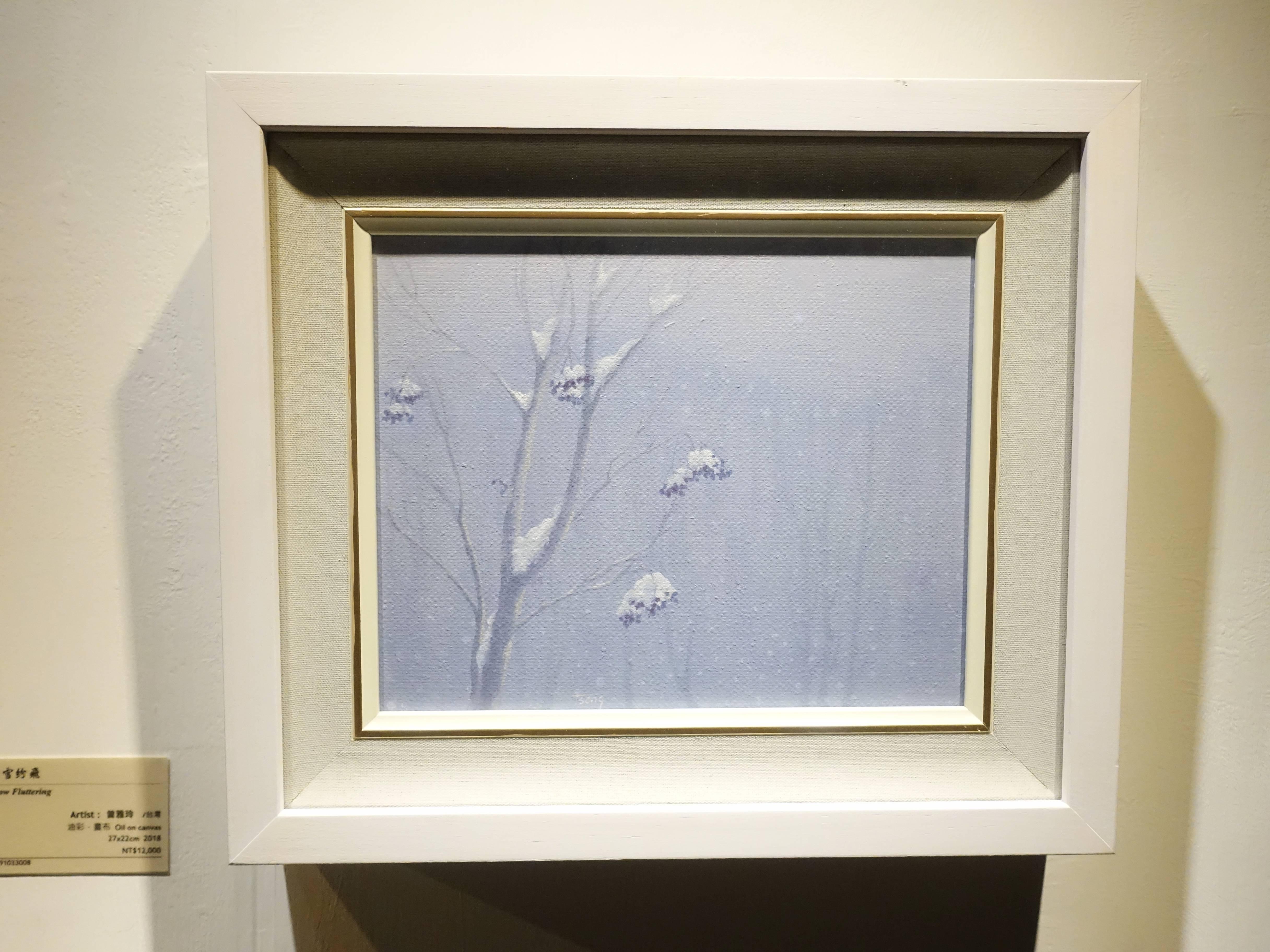 曾雅玲,《白雪紛飛》,27x22cm,油彩、畫布,2018。