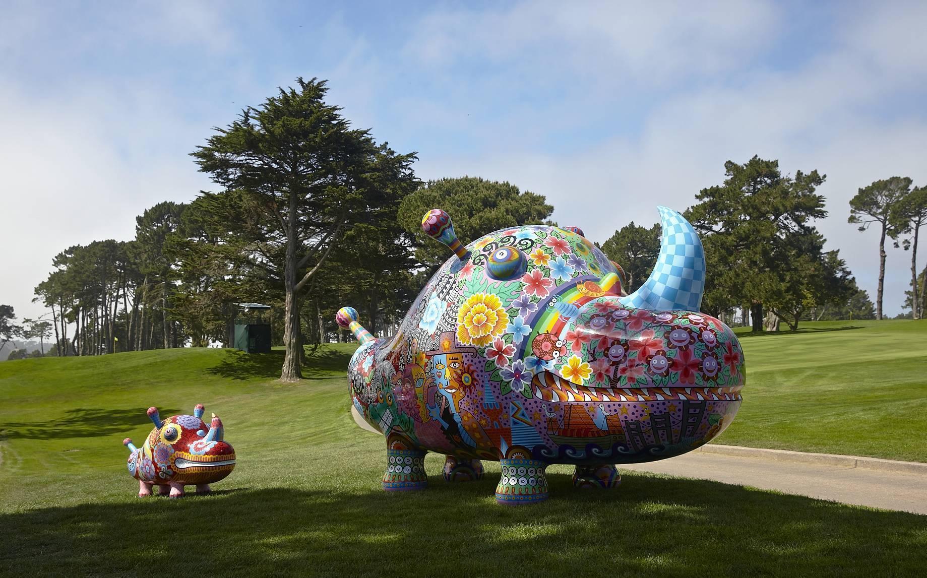 2014 舊金山默賽德湖球場 洪易犀牛大型作品群組 150x67x90cm、415x176x220cm