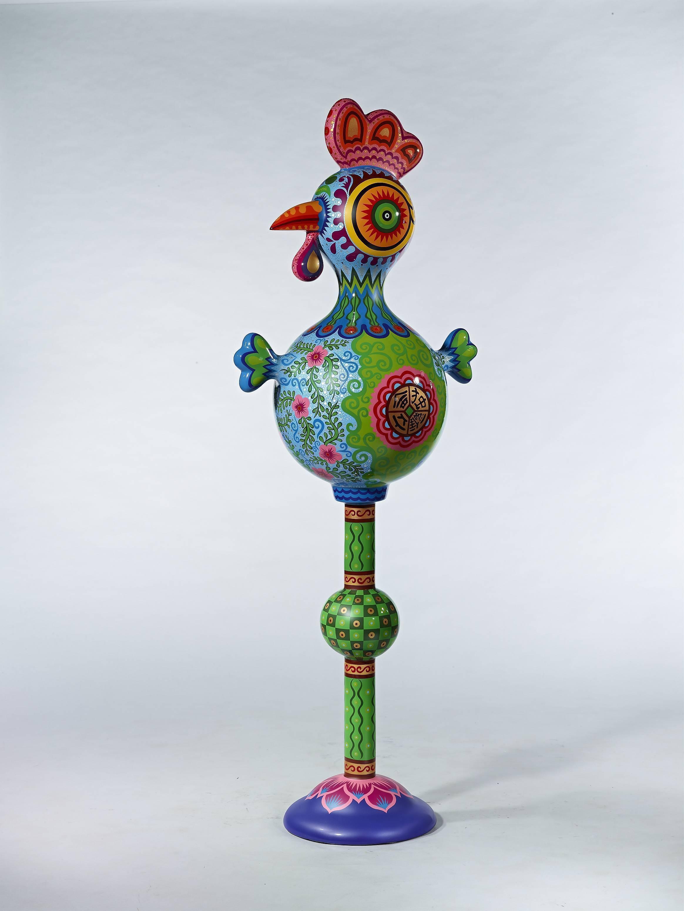 十二生肖之拾 金雞獨立 2012 鋼板彩繪 60x41x160cm