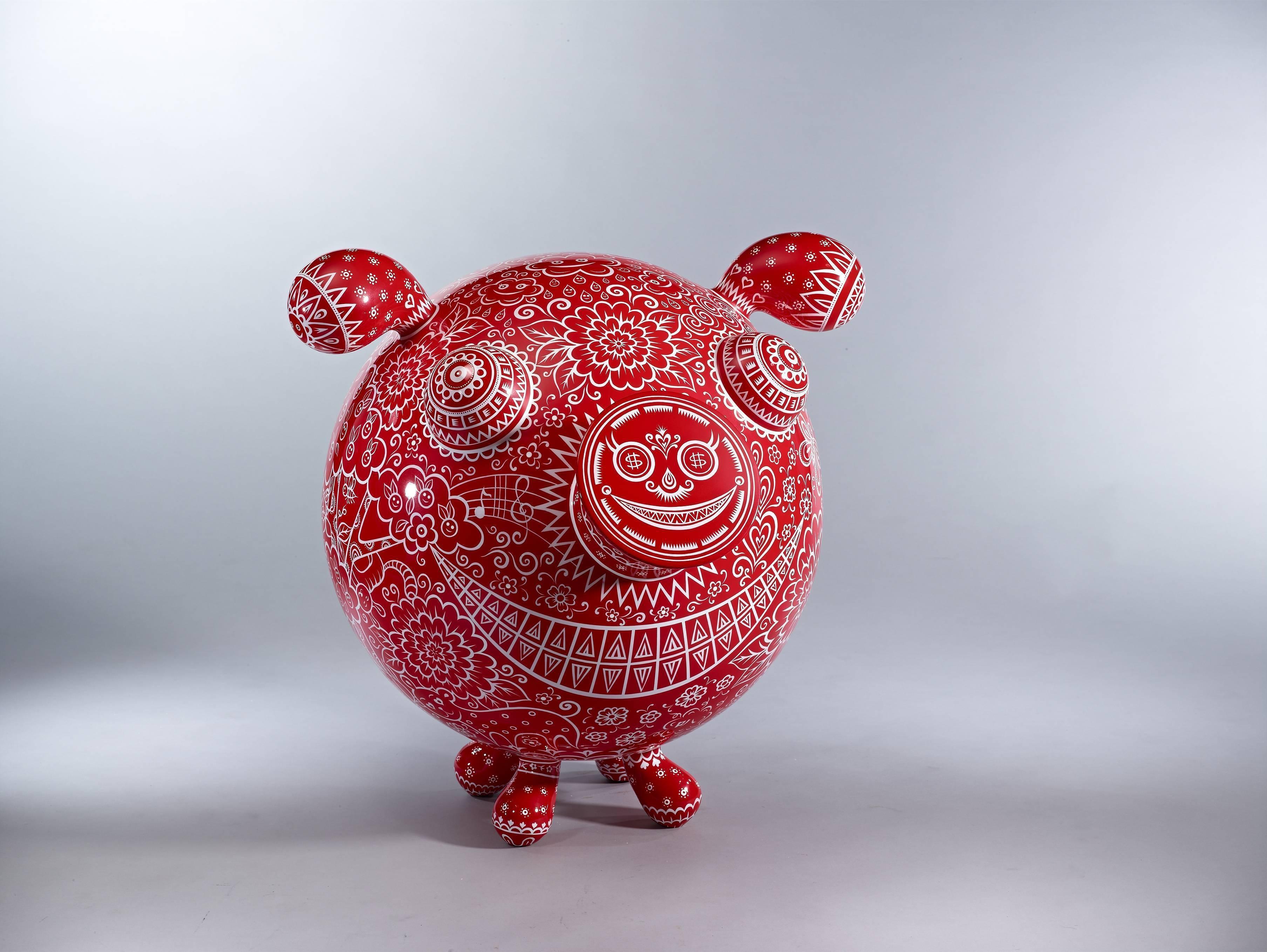 十二生肖之拾貳 圓豬 2014 鋼板彩繪 92x76x77cm