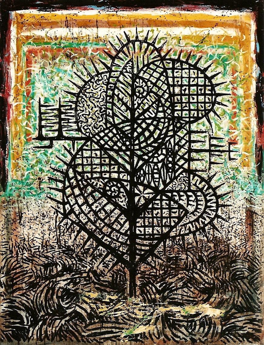 楊仁明 黑水長出來的新植物-於思考中的存在方式 1994 油彩 145.5x112cm