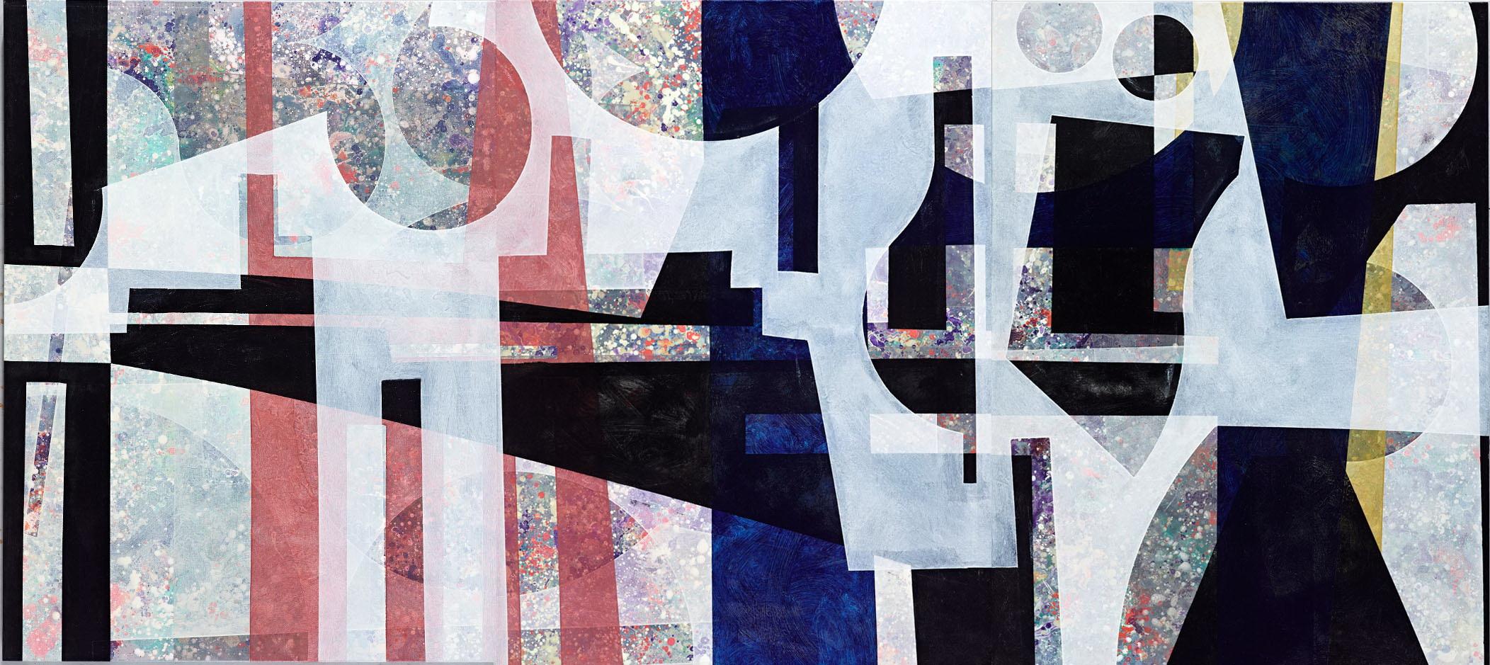 楊仁明 疊羅漢 2012 壓克力、油彩、布 130x291cm(三聯幅,單幅130x97cm)