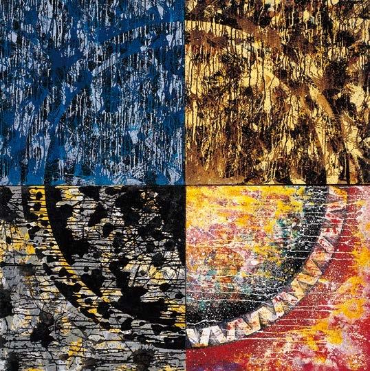 楊仁明 大光環 - 狩獵中的光環(四聯幅) 1996 壓克力.油彩 160x160cm