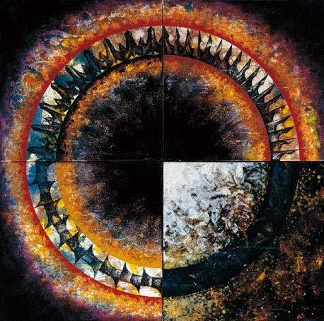 楊仁明 大光環 - 轉形中的光環(四聯幅)  1996 油彩 100x100