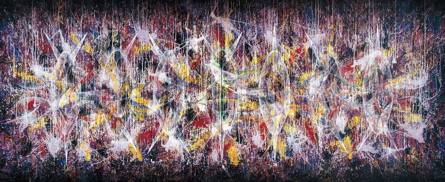 楊仁明 不安定的連結 - 推敲的聯結(双聯幅) 2002 壓克力.油彩  454x182c