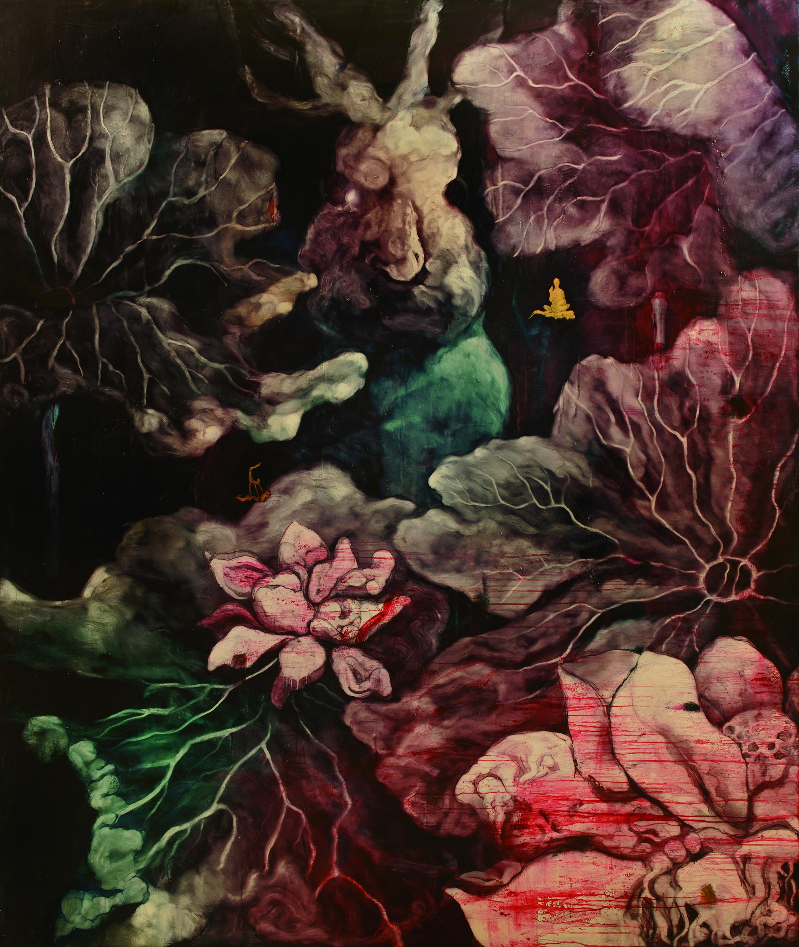 常陵 五花肉系列-肉宗教-兔兒神在花果山上 2009 油彩 227x191cm