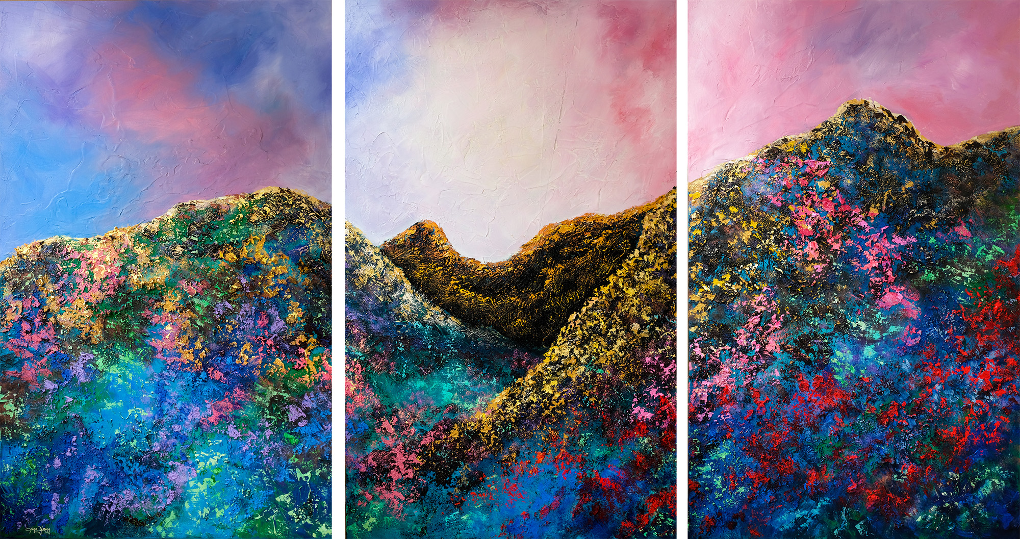 《光耀》2019 Oil, acrylic, glass beads, sand on canvas, triptych  122x229cm