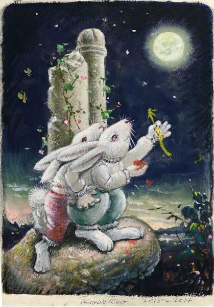郭維國-白兔望月草圖