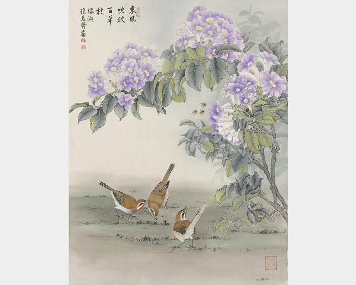 張克齊-東風吹放百花枝